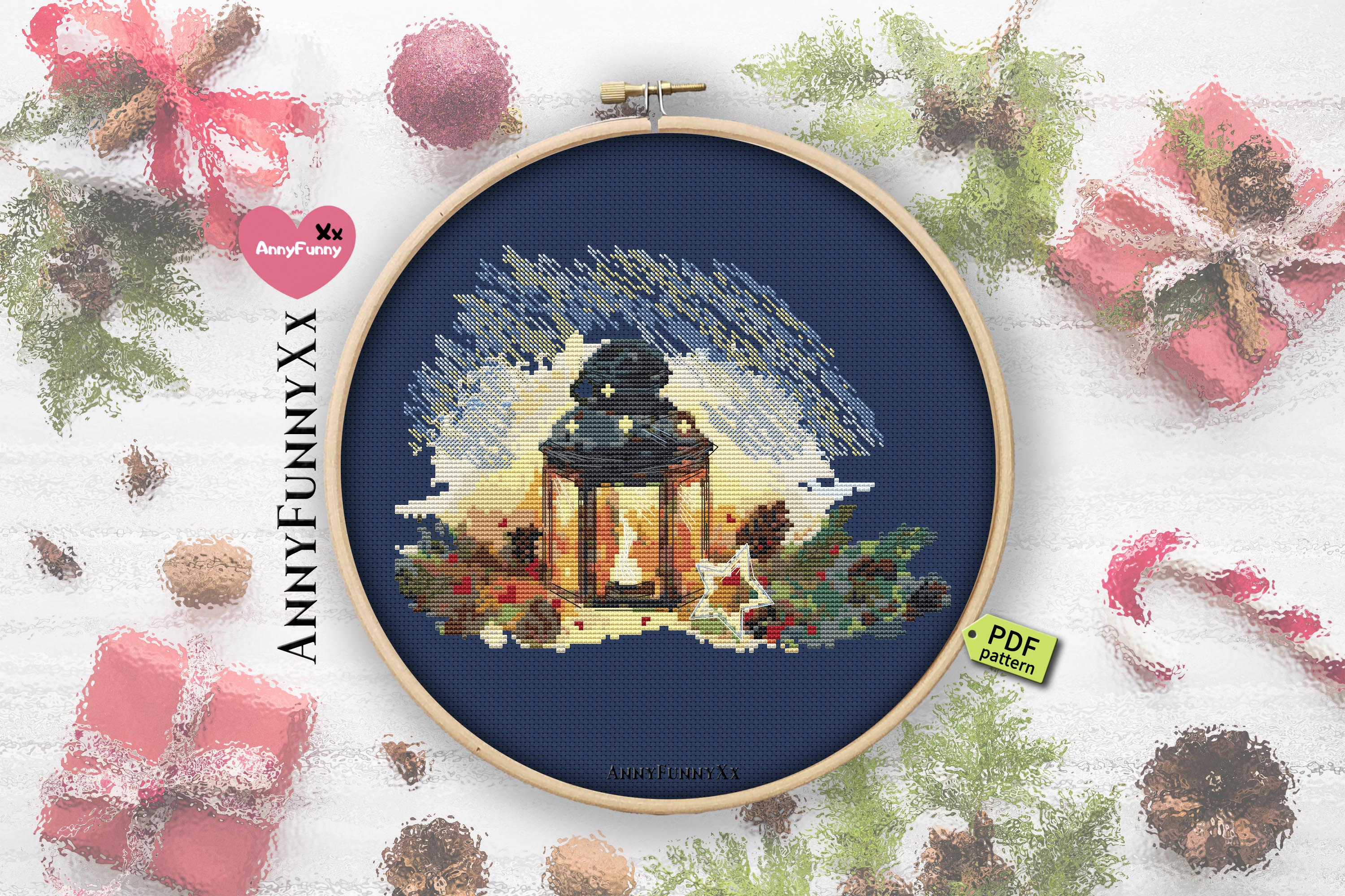 Cross stitch pattern christmas vacation Set example image 4