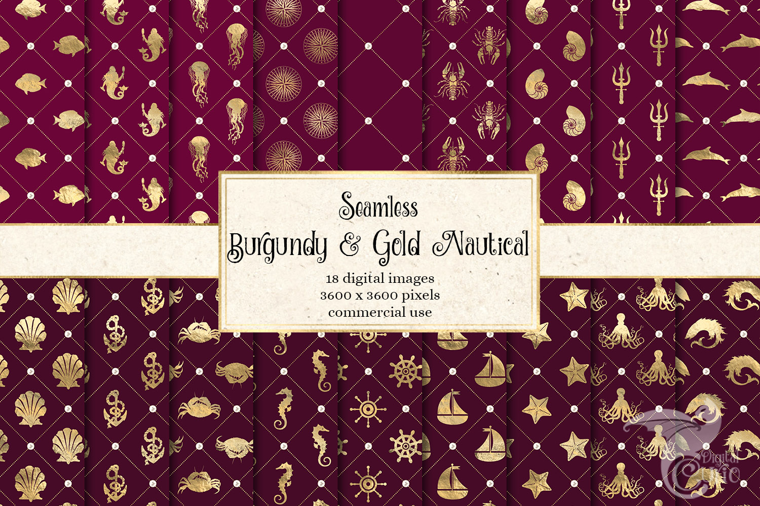 Burgundy and Gold Nautical Digital Paper example image 1