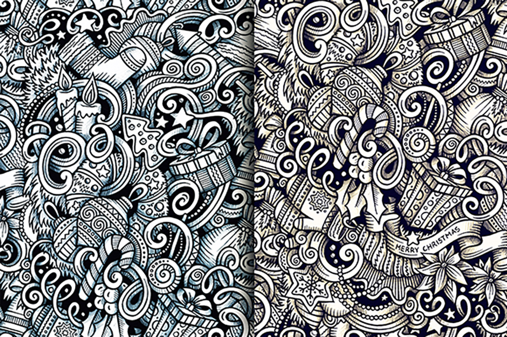 New Year Graphic Doodle Patterns example image 4