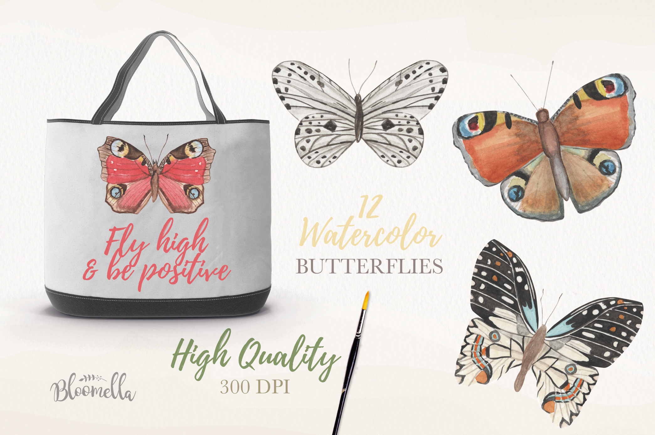 Butterfly Collection 12 Watercolor Clipart Elements Insect example image 3