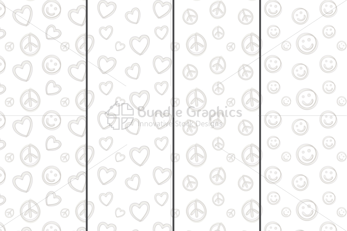 Freehand Style Love, Peace, Balance Pattern Set example image 3