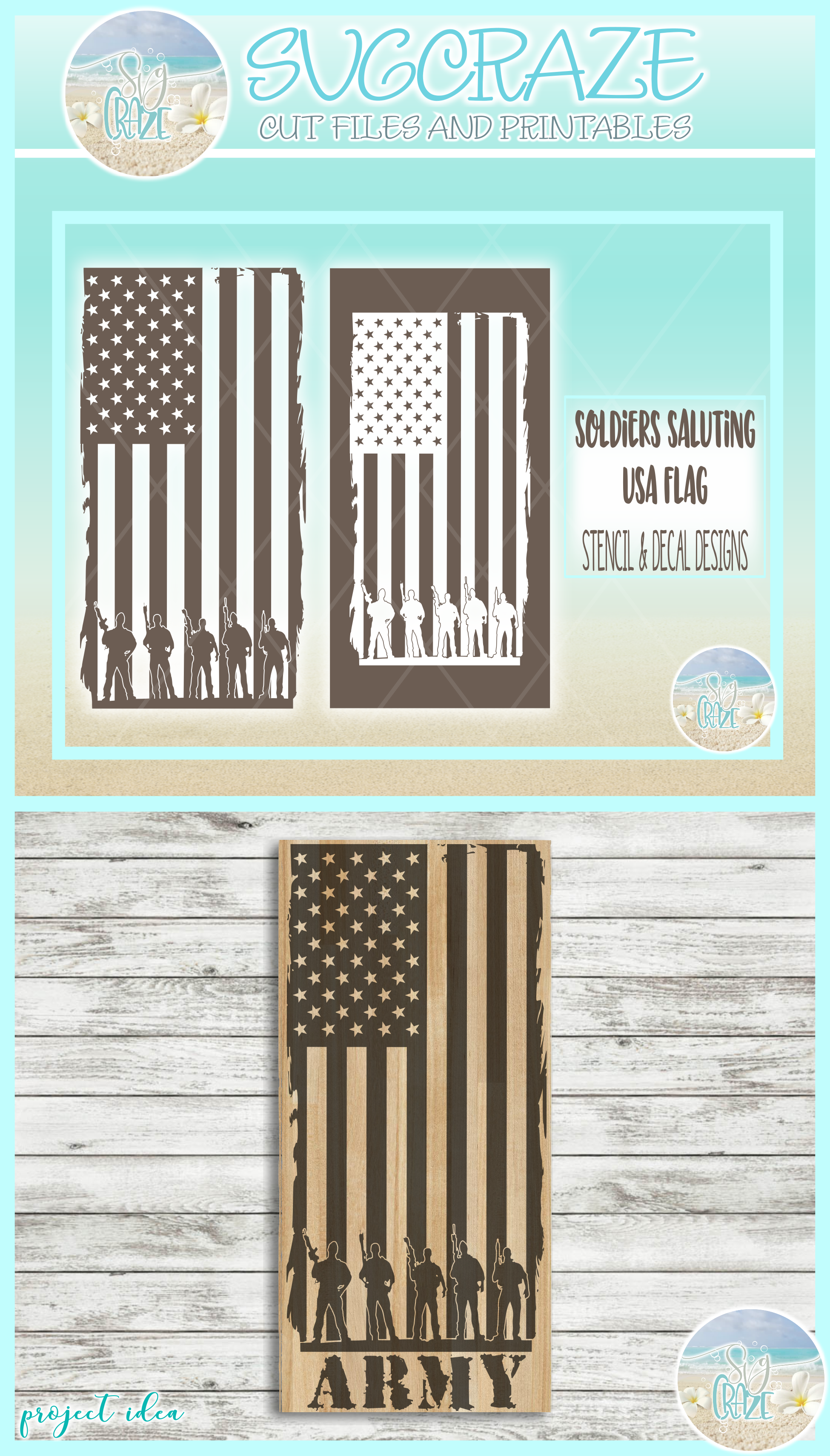 Usa Flag Soldiers Military Stencil Decal SVG DXF EPS PNG PDF example image 4