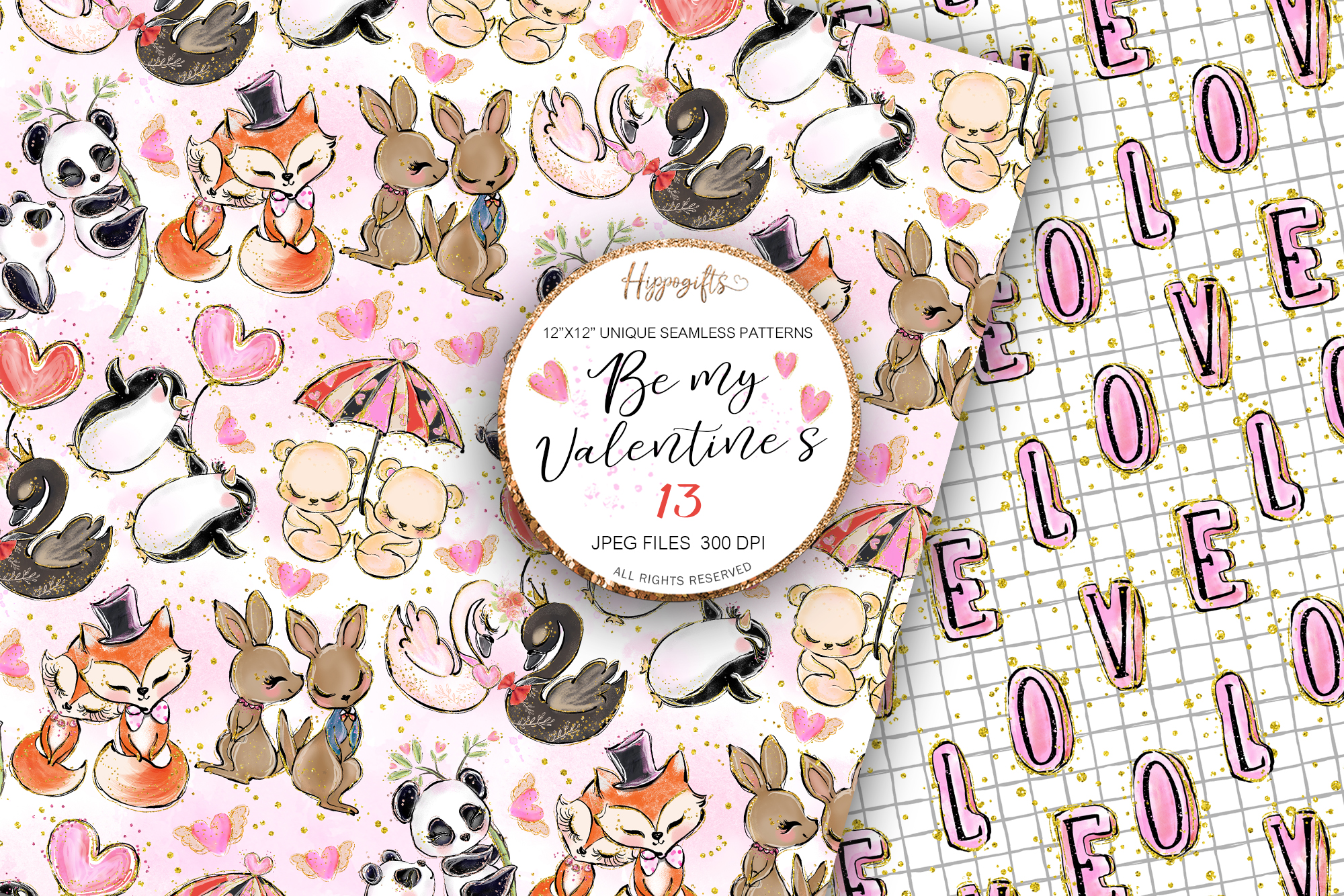 Valentine's patterns,Animal love,Love is in the air example image 2