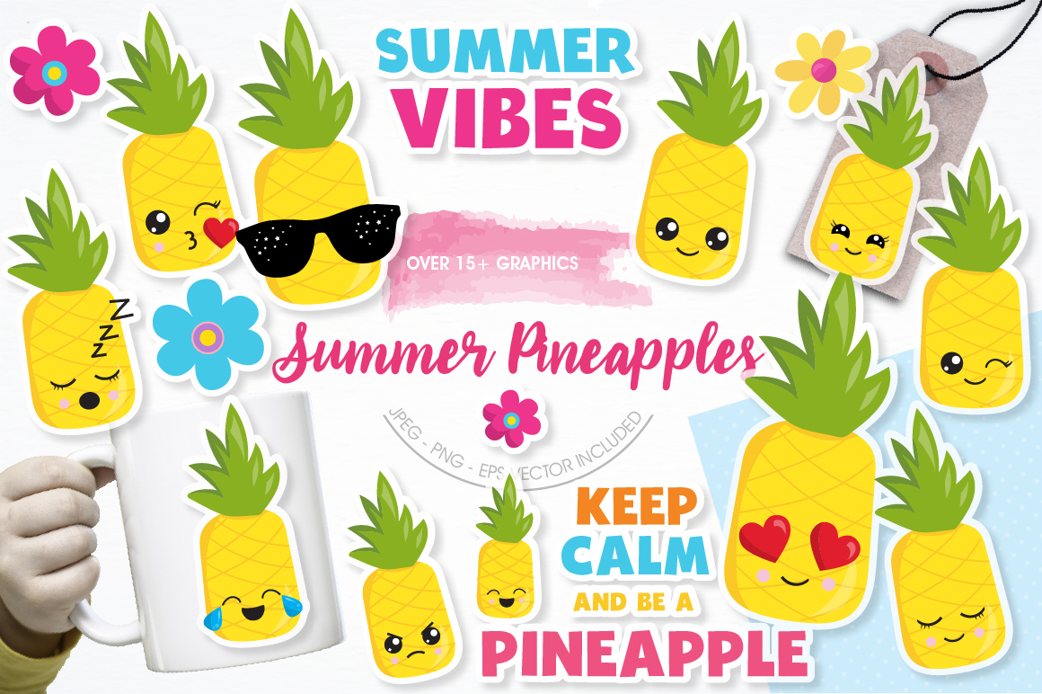 Summer Pineapples graphics and illustrations example image 1