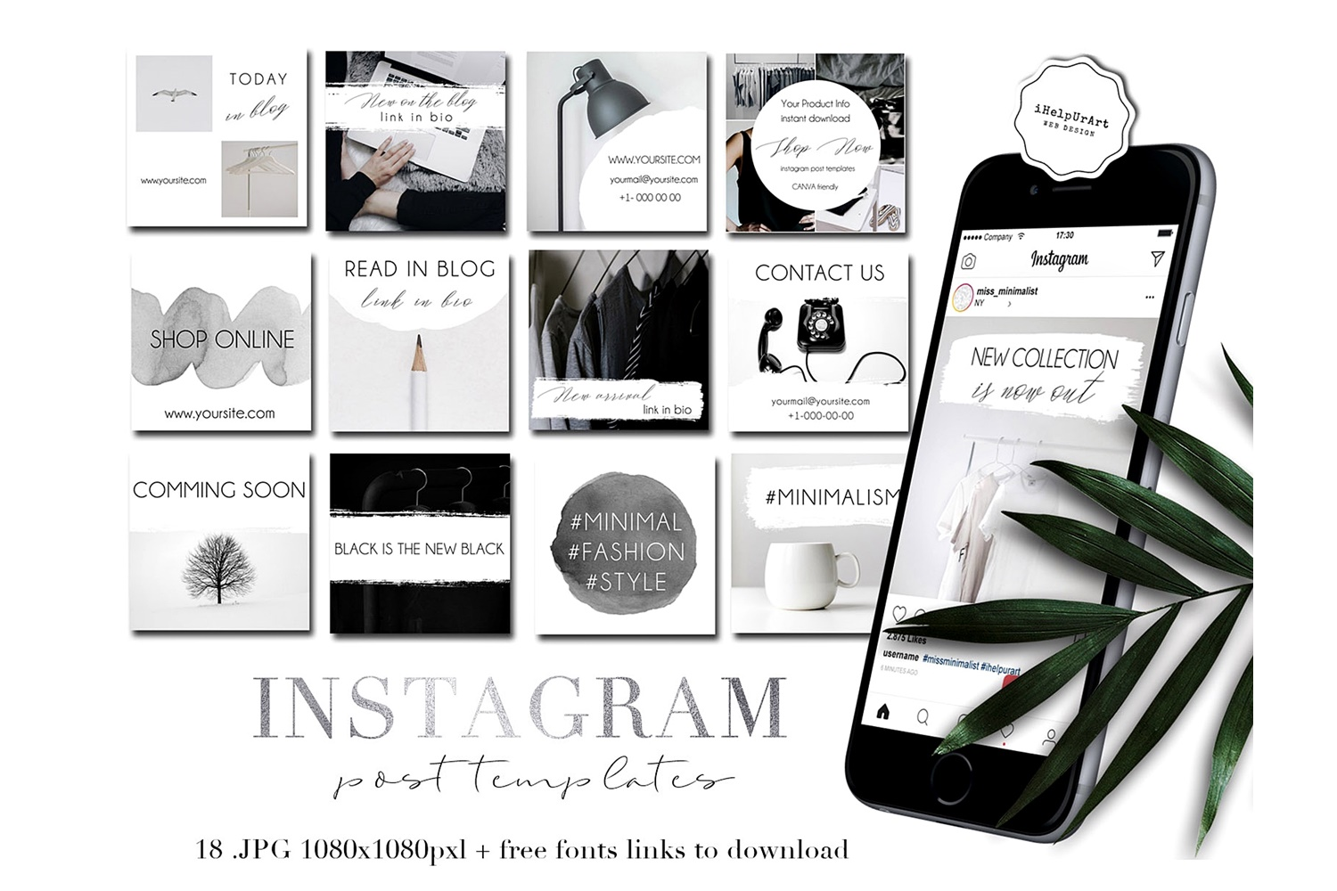 Minimalist Instagram Post Templates example image 1