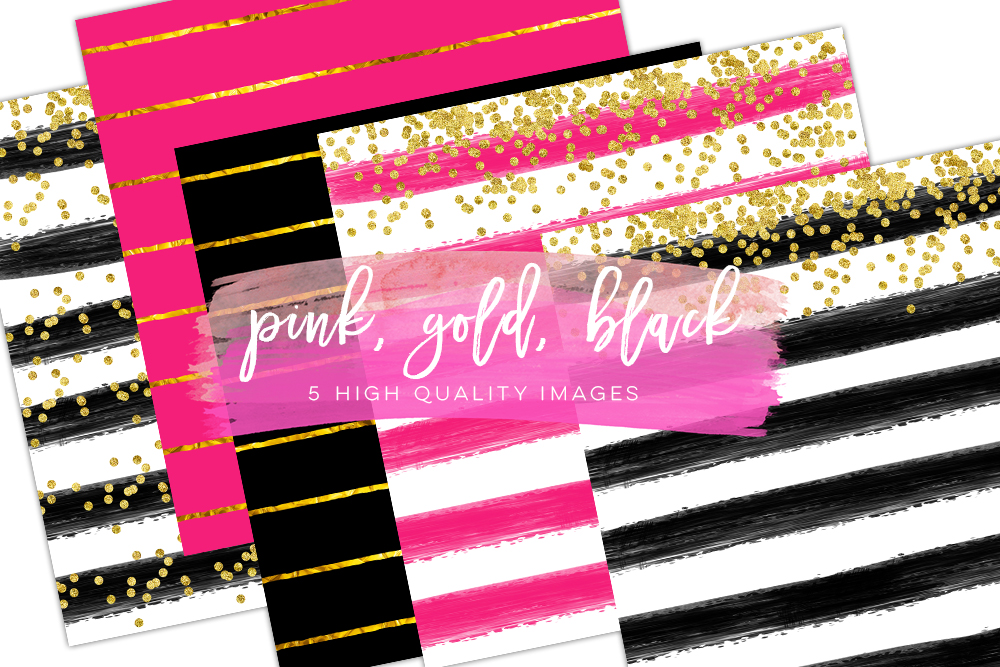 pink black digital paper, Valentines day digital paper, Gold Black printable paper, gold pink printable paper, pink and gold backgrounds example image 1