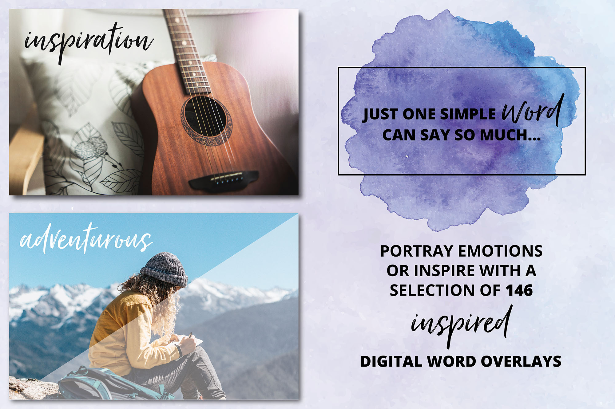 Social Media Overlays Bundle - 712 Black and White Words example image 8