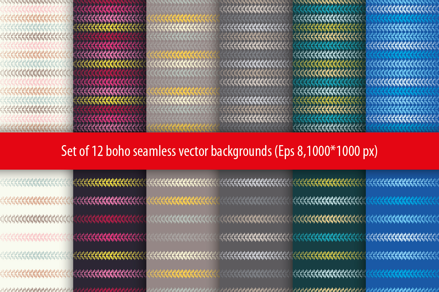 Set of 12 boho seamless vector backgrounds. example image 1