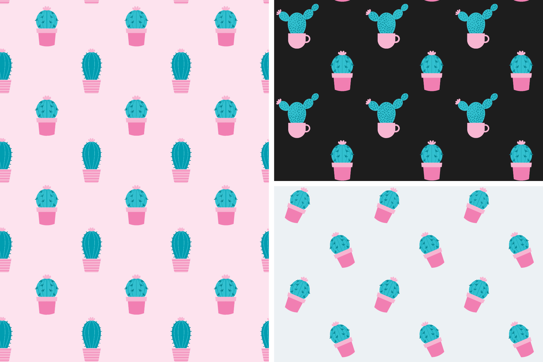 Cactus Seamless Patterns Collection example image 6
