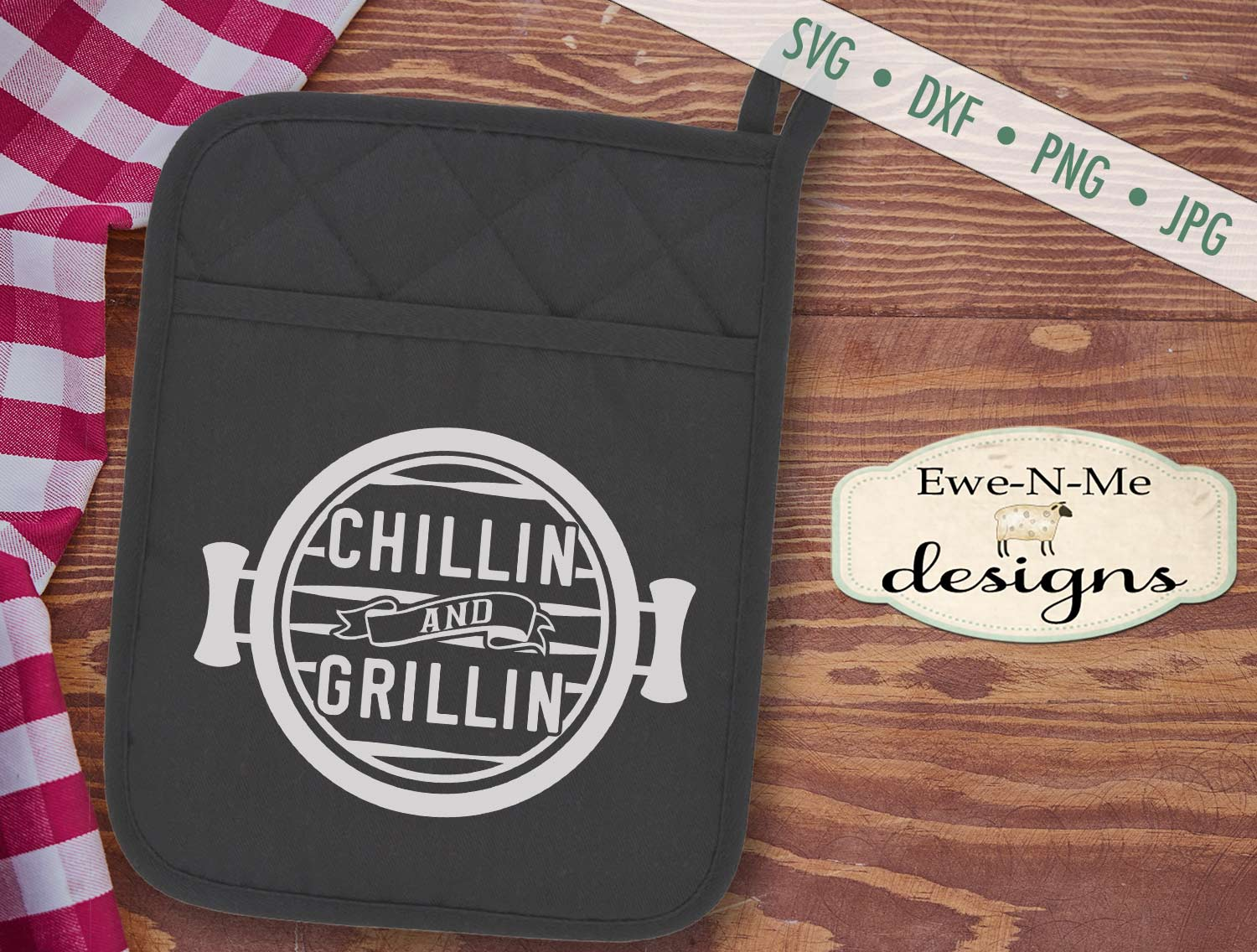 Grilling BBQ Themed Pot Holder Bundle - Fathers Day SVG example image 4