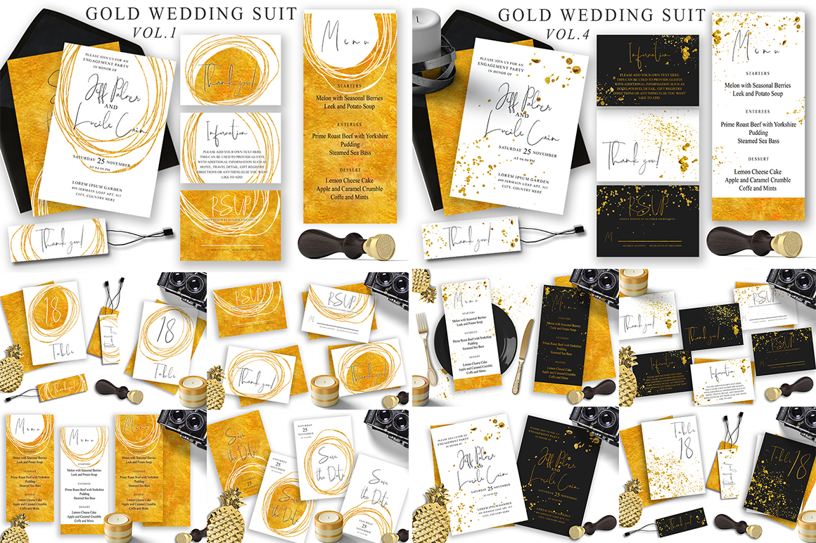 Watercolor Wedding Invitations Suits. GIANT BUNDLE example image 6