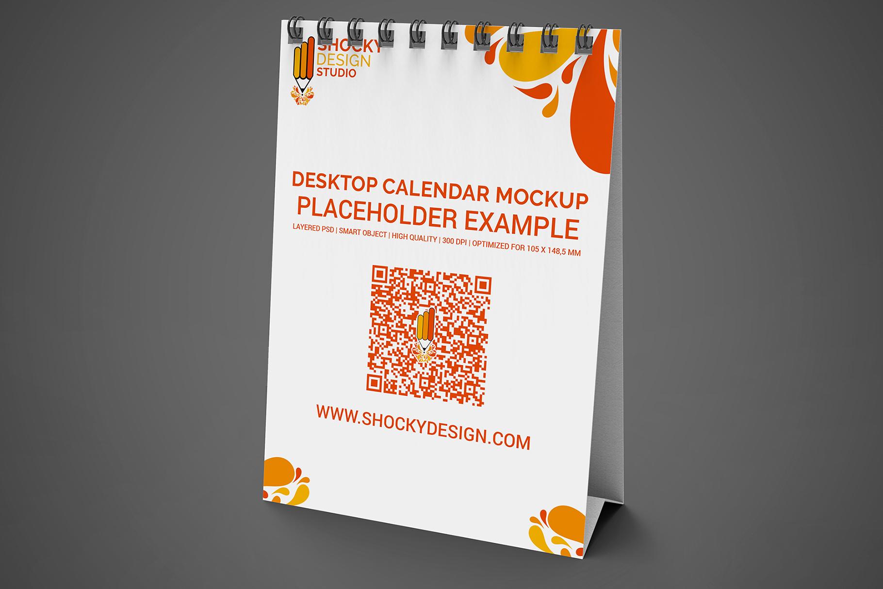 Desktop Calendar A6 Mockup example image 4