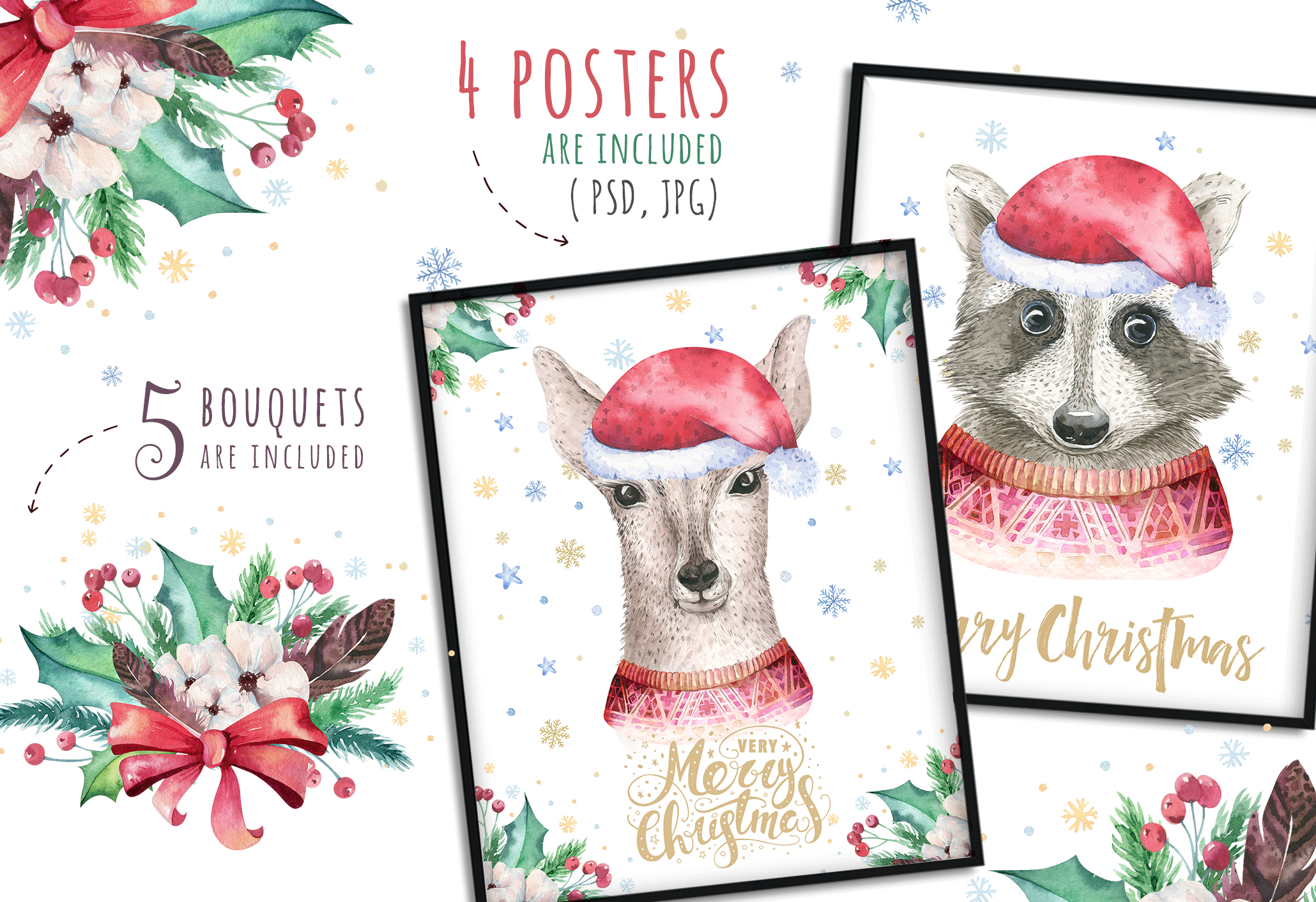 Christmas raccoon and deer animals example image 7