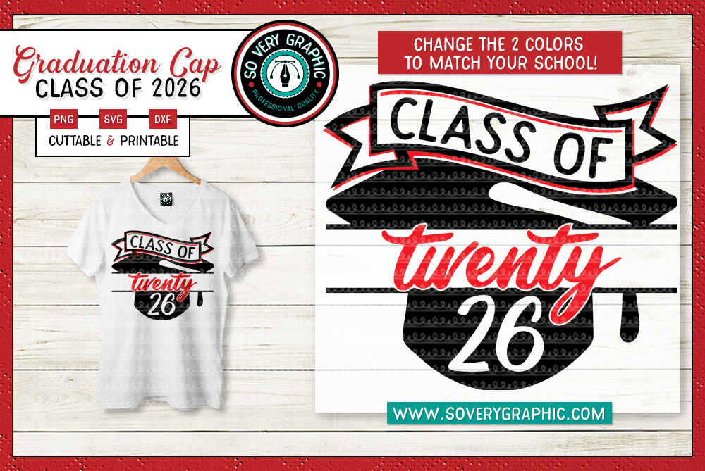 Class of 2026 Graduation Cap SVG Cut File example image 1