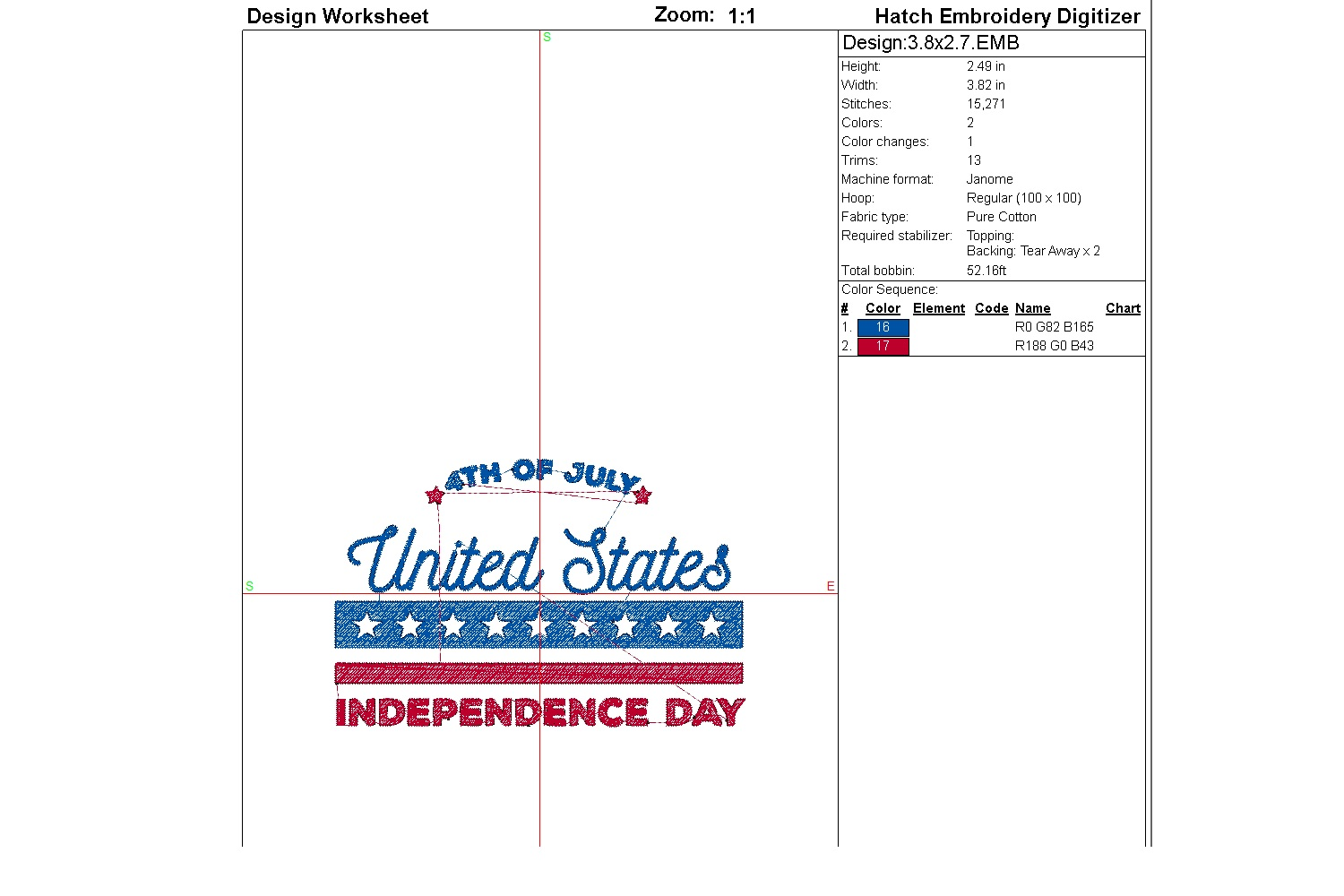 July 4th Embroidery | Independence day | Machine embroidery| example image 2