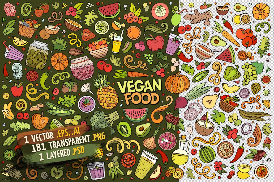 Vegan Food Objects & Elements Set example image 2