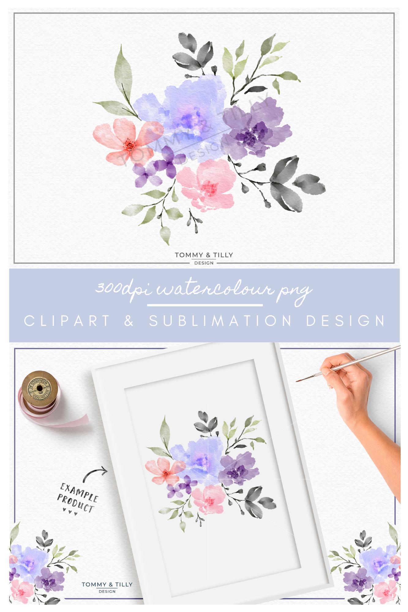 Watercolour Lilac Bouquet - Sublimation | Clipart | PNG example image 4