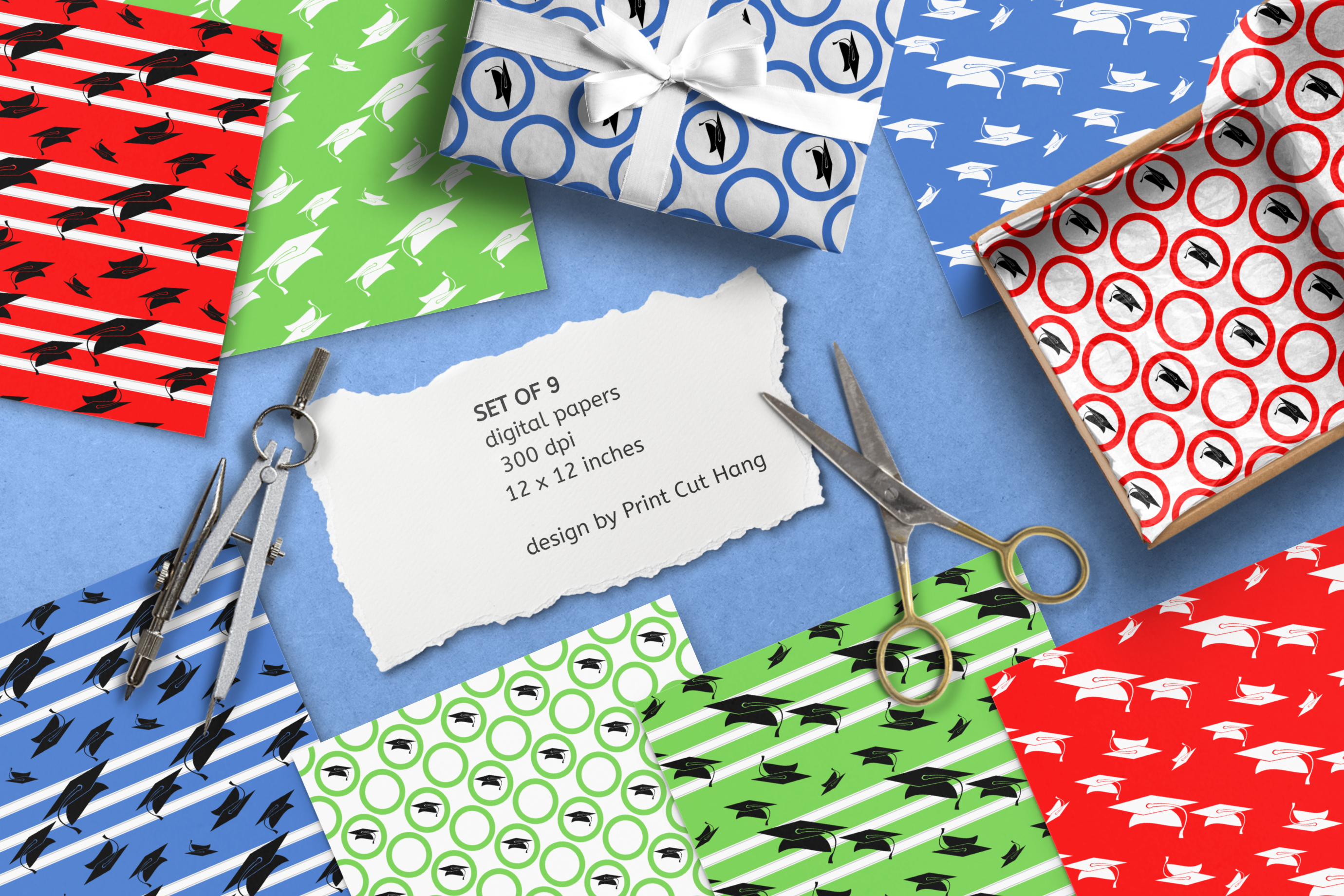Graduation Seamless Patterns - Vector files - Background example image 1
