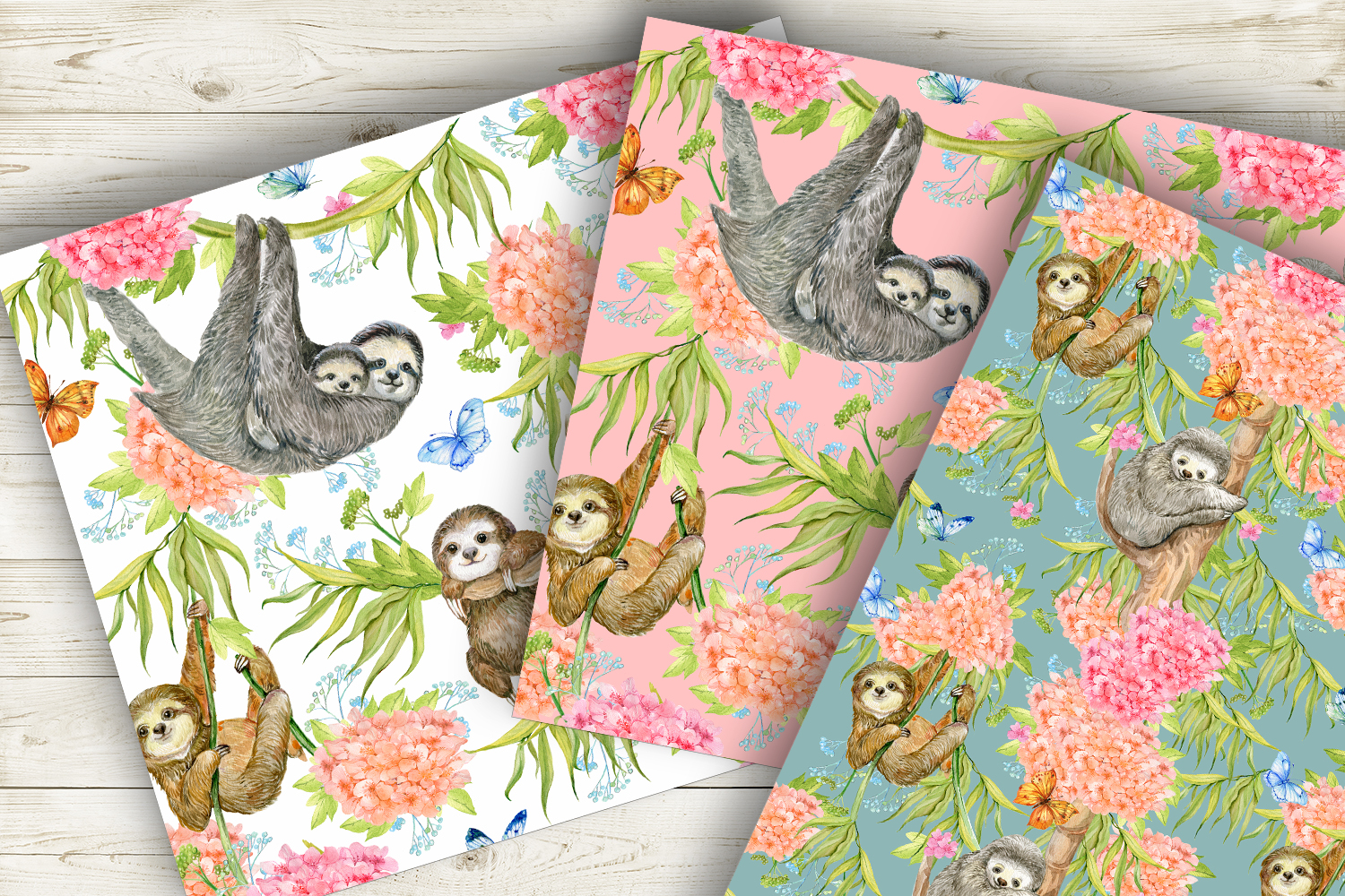 Sloths Seamless patterns example image 3