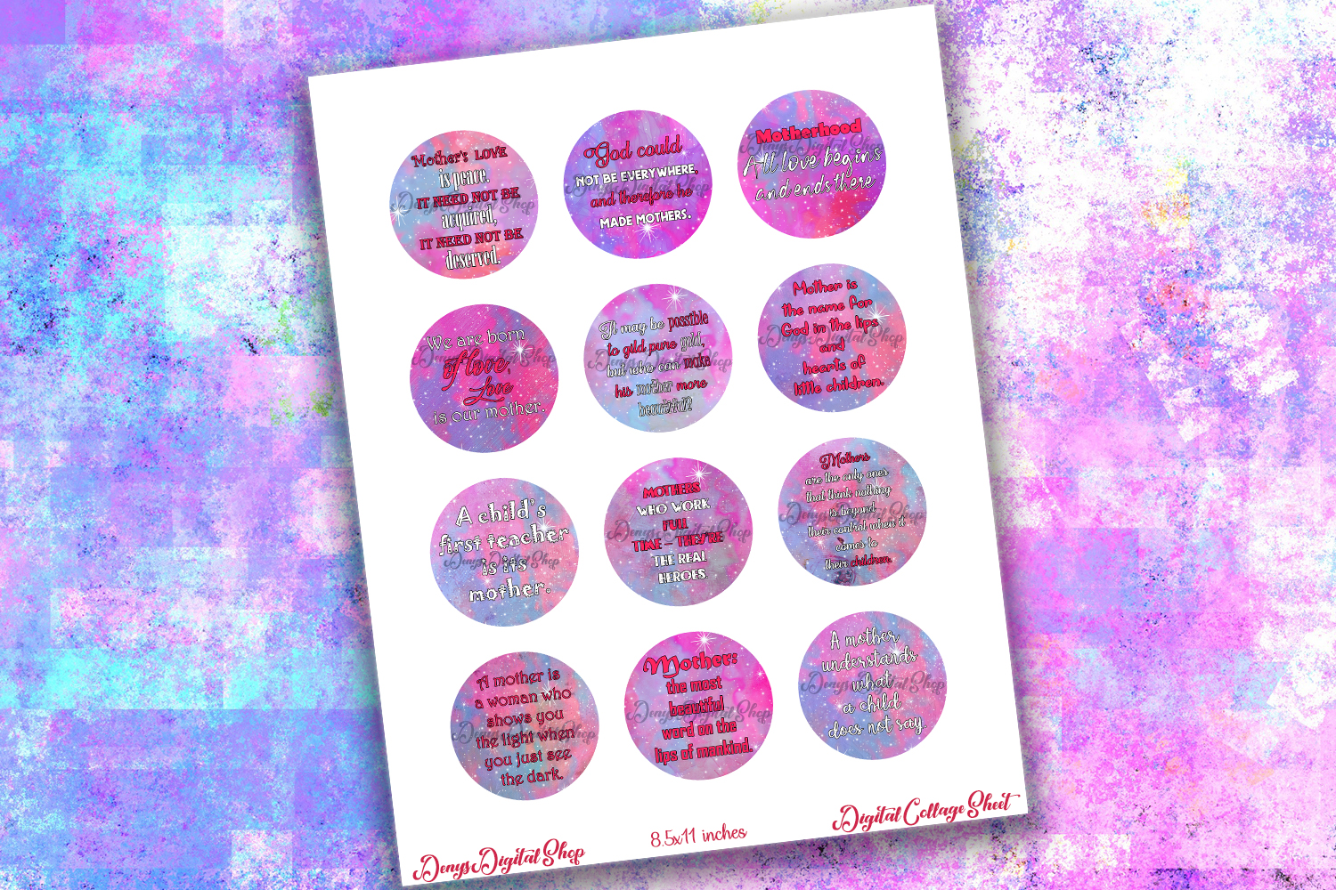 Mother Day Quotes,Quotes Digital Collage Sheet,Mom Quotes example image 2