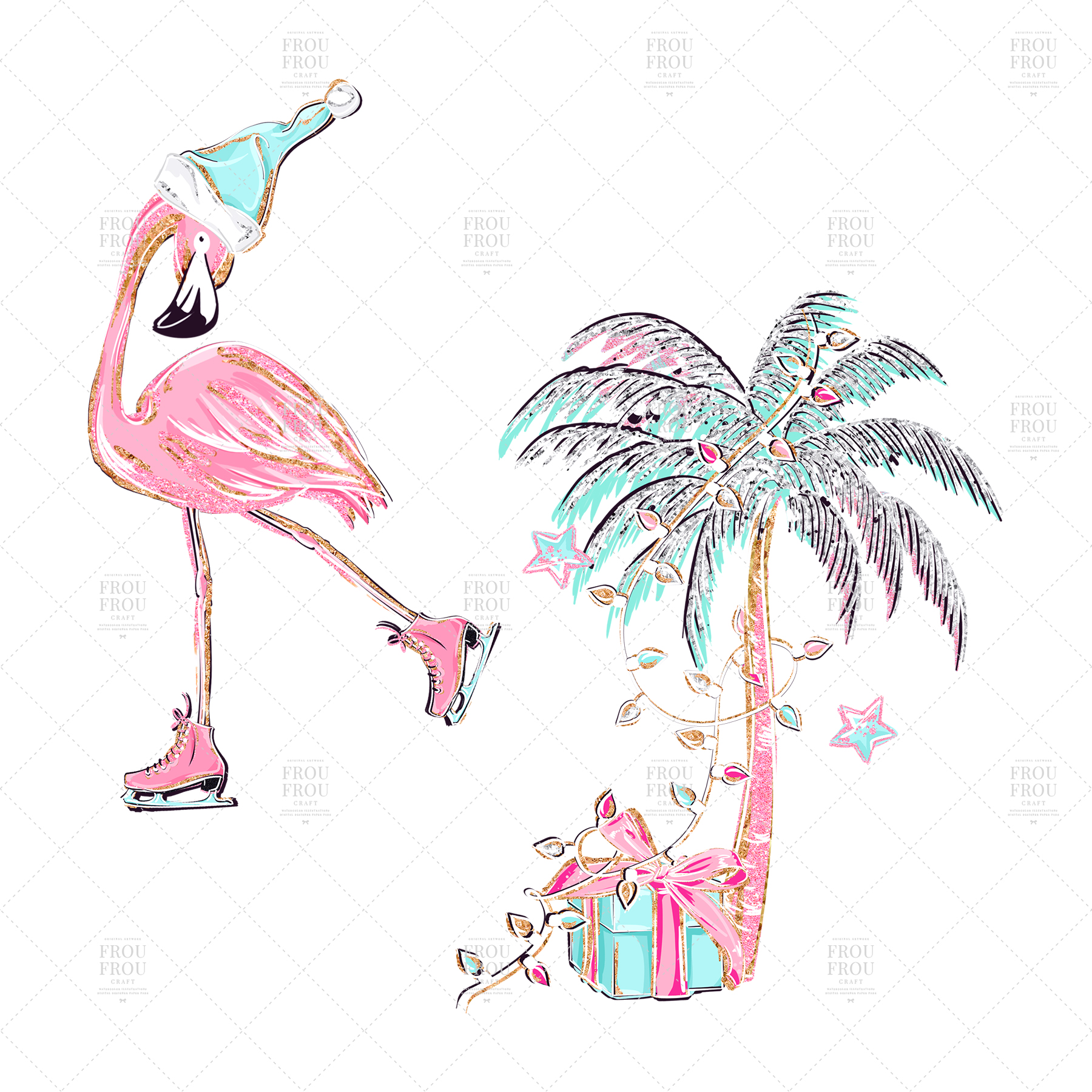 Pink Flamingo Christmas Presents Glitter Clip Art example image 5
