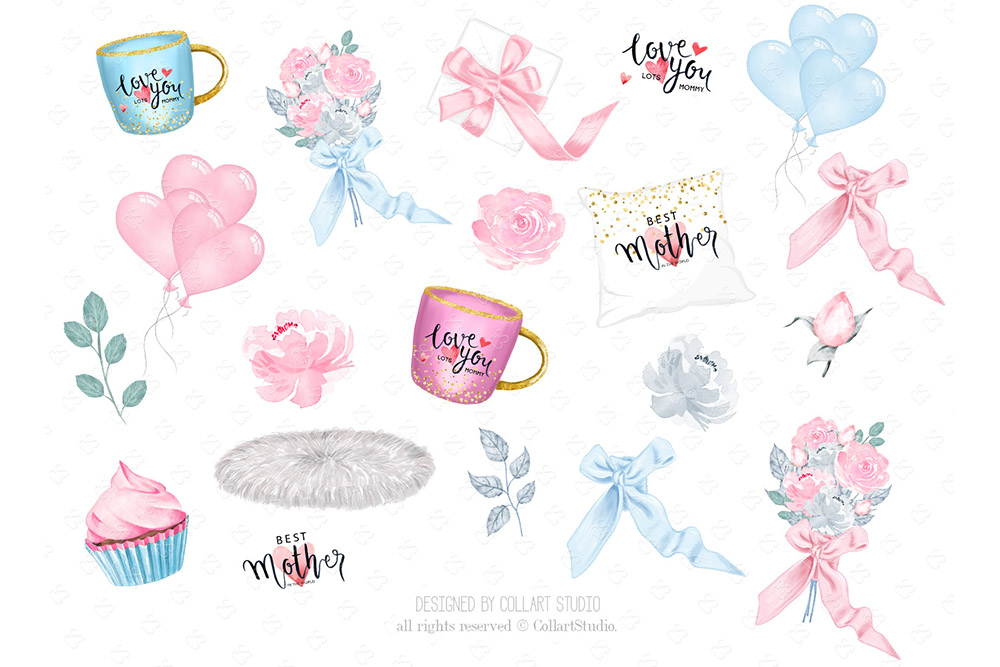 Mother's Day Clip Art, Mother Child Illustrations, Family example image 5