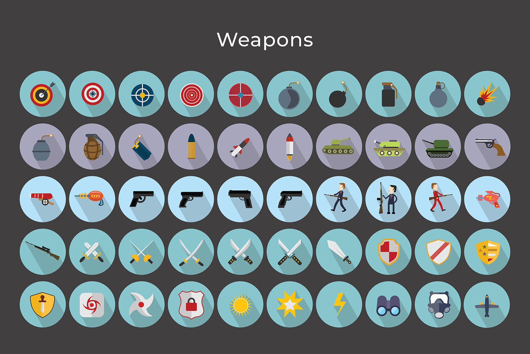 Flat Icons Gaming Weapons Pack V2 example image 5