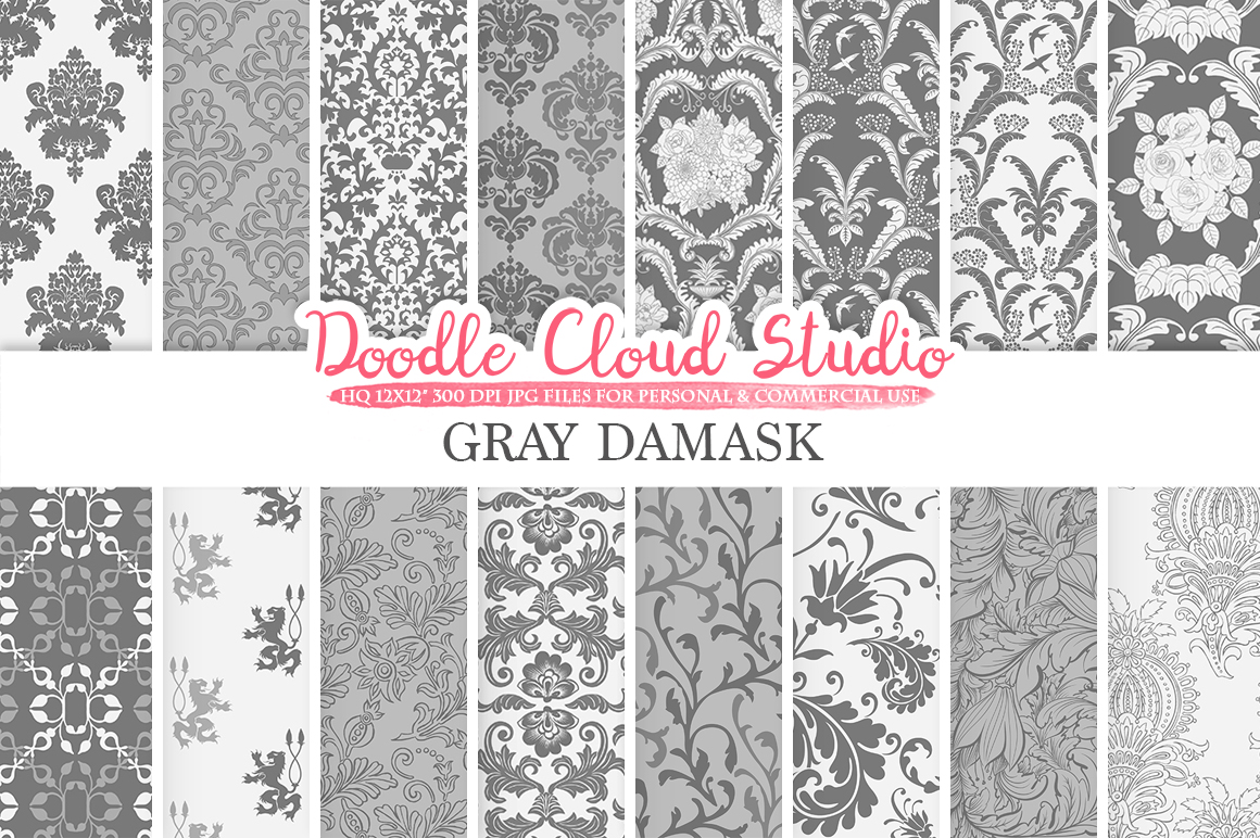 Gray Damask digital paper, Swirls patterns, Digital Floral Damask, Grey background, Instant Download for Personal & Commercial Use example image 1