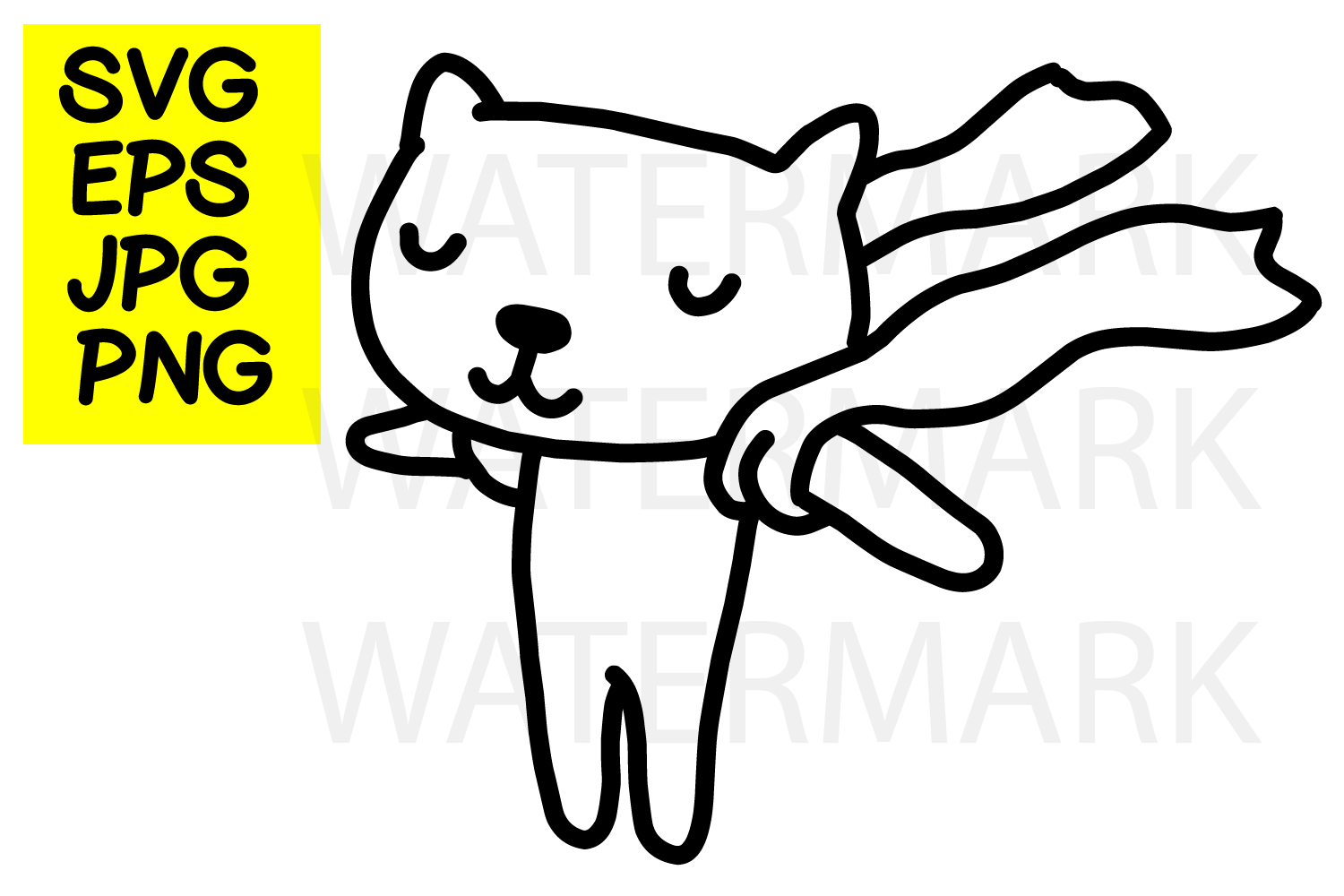 Cat in the Wind-SVG-EPS-JPG-PNG example image 1