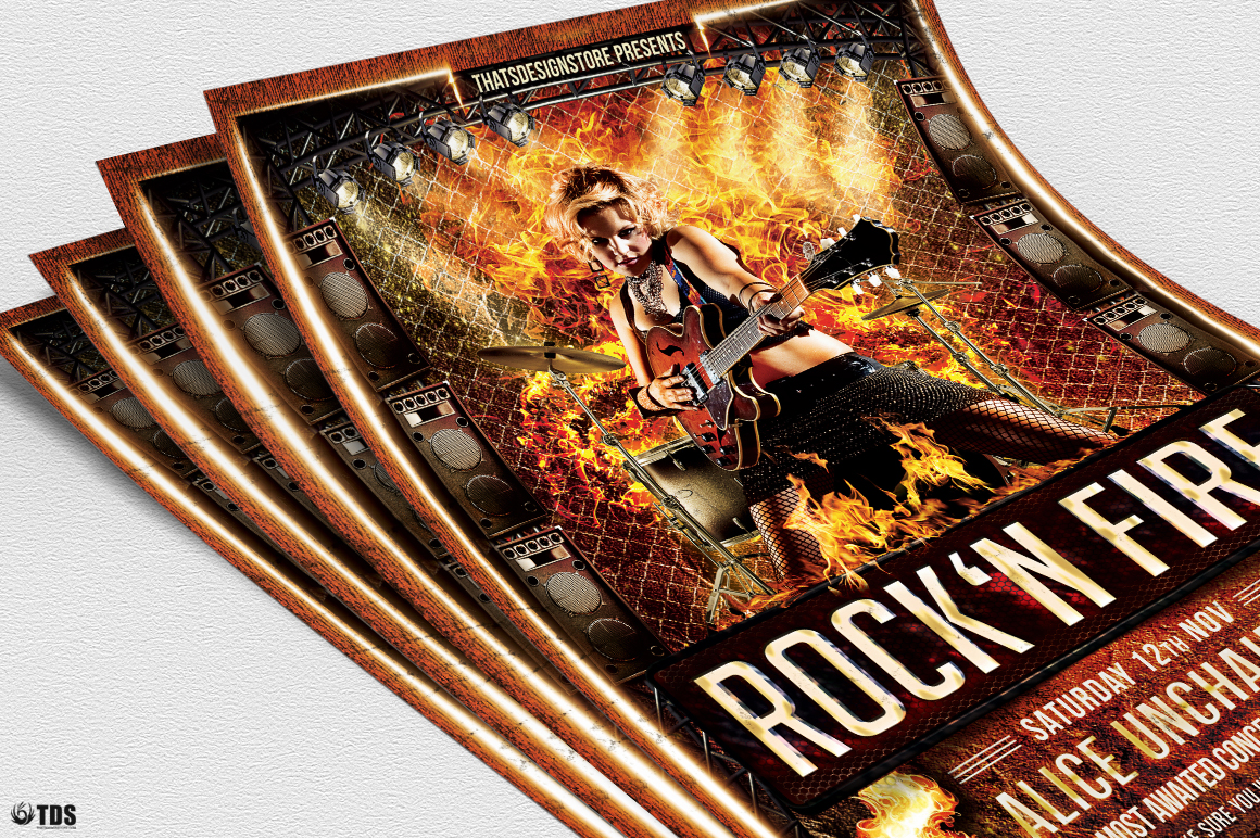 Rock'N Fire Live Flyer Template example image 5