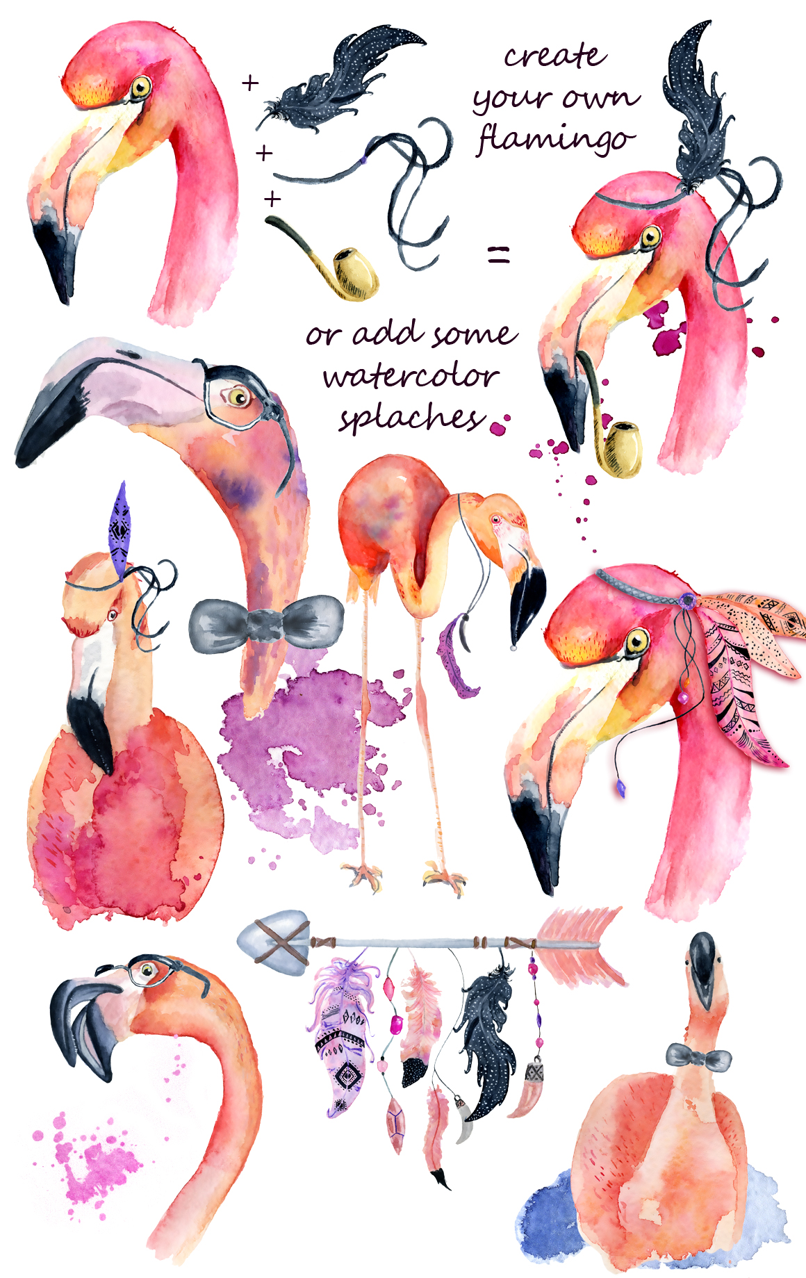 Boho flamingo Watercolor set example image 3