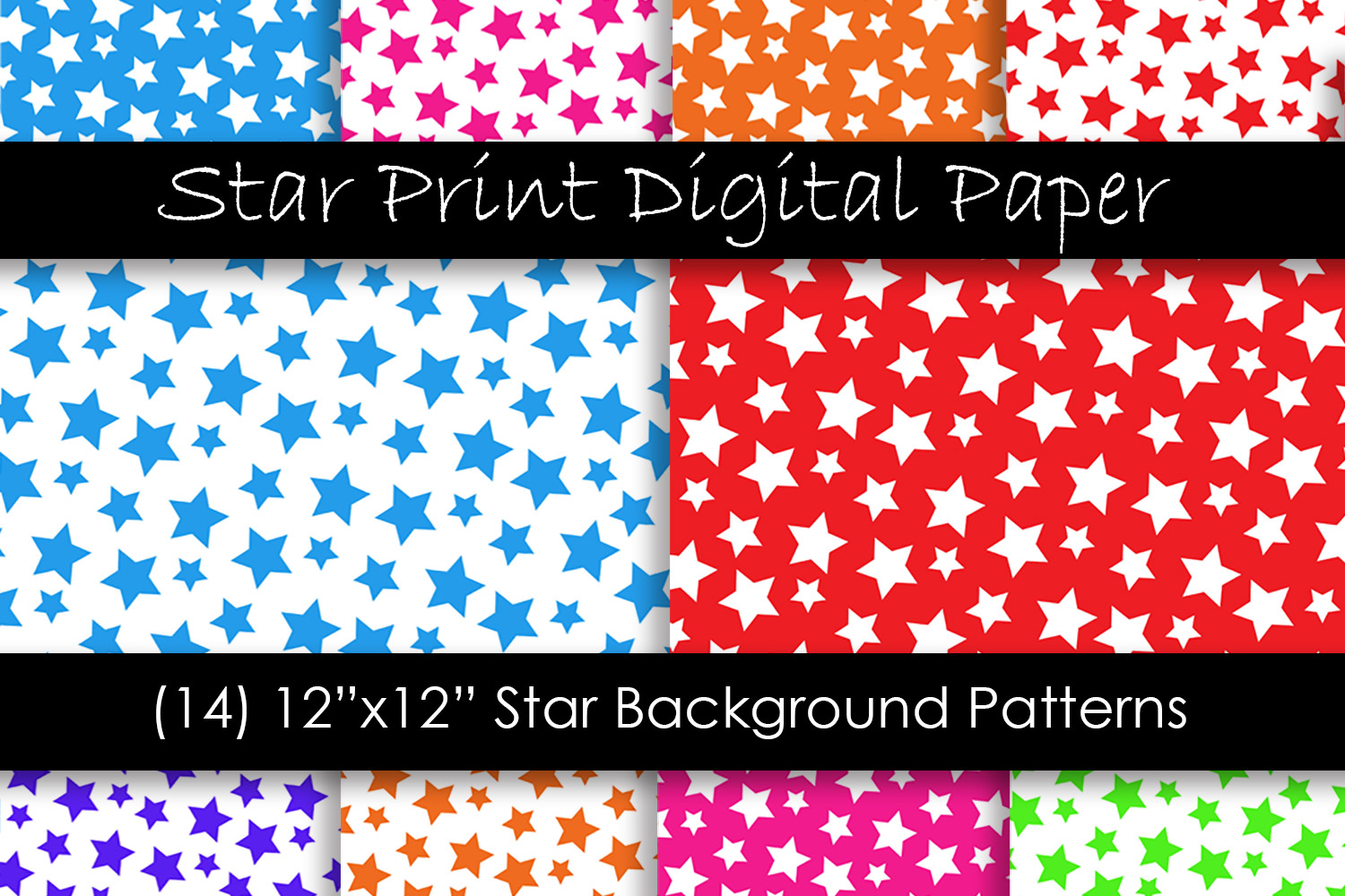 Star Backgrounds in Multi-Color - Star Patterns example image 1