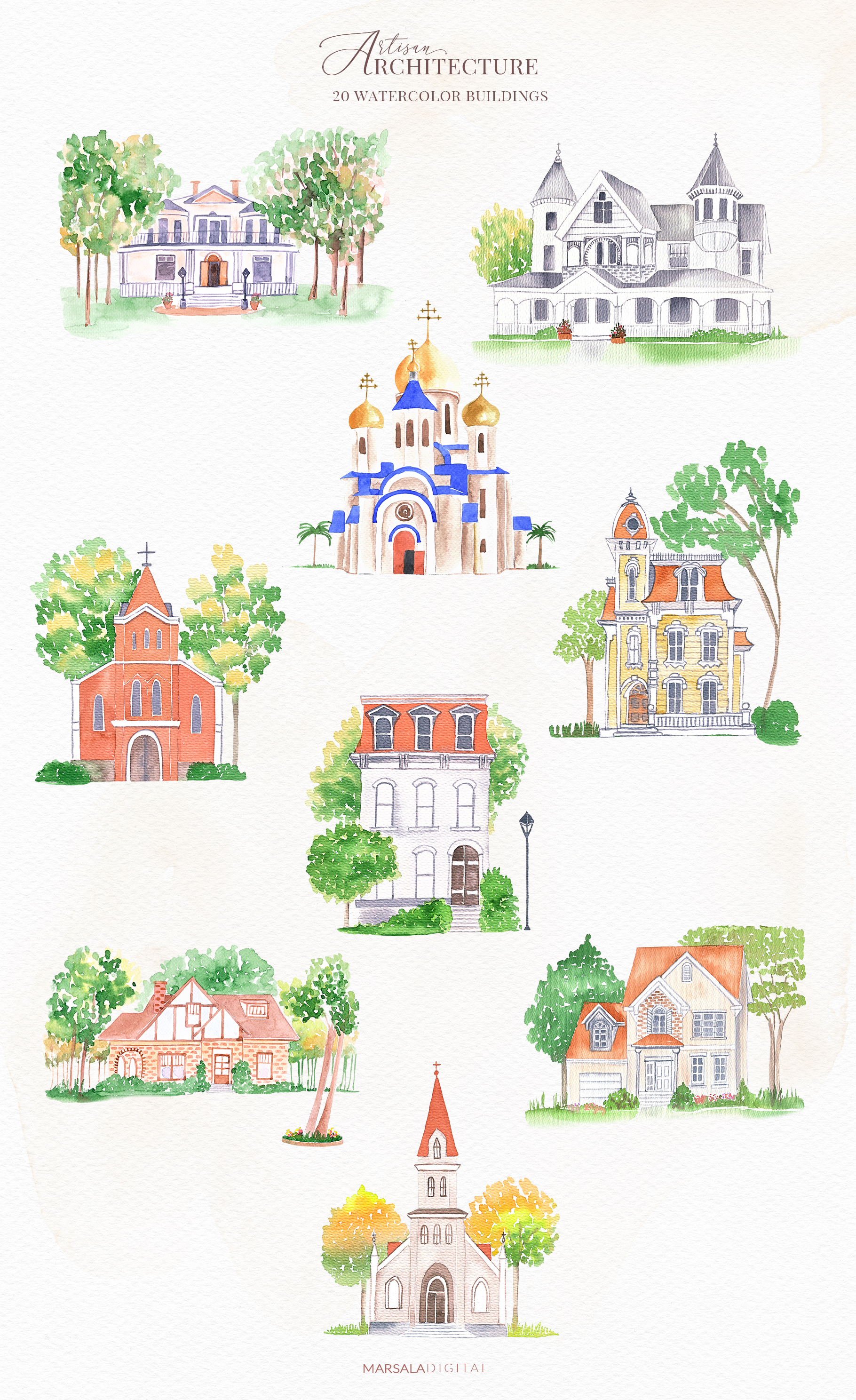 Venues Houses Watercolor , Sketch , Vector Graphics example image 4