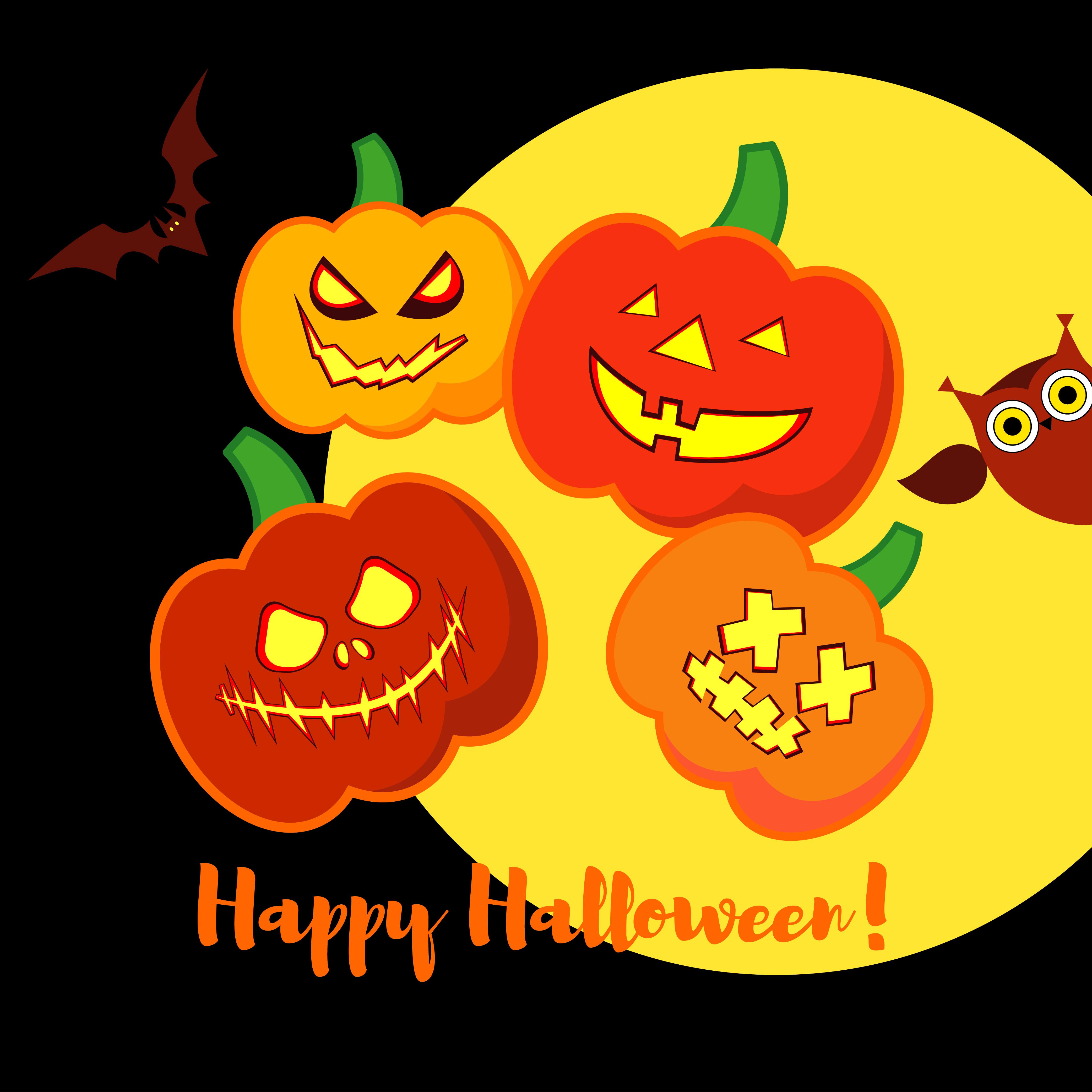 Poster Happy Halloween. Halloween pumpkins smile. example image 1