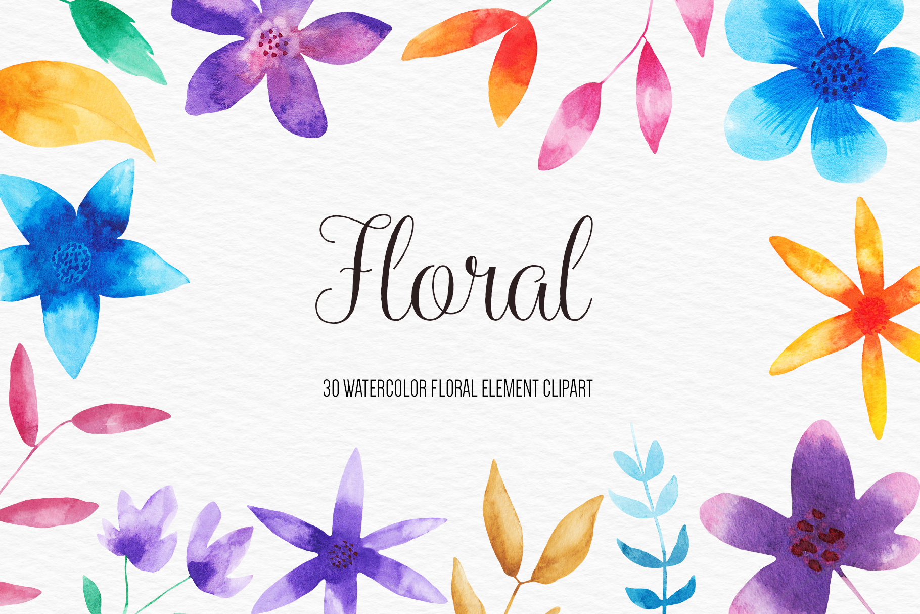Watercolor Floral Clipart, Watercolor Flowers Illustrations example image 1