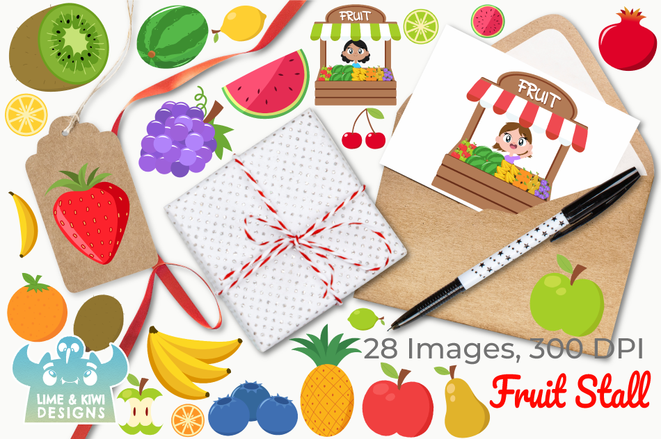 Fruit Stall Clipart, Instant Download Vector Art example image 4