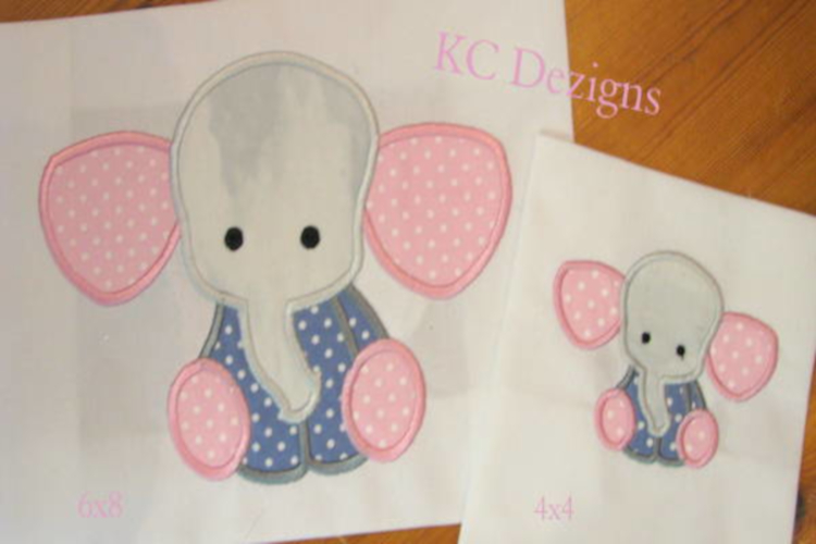 Baby Elephant Sitting Machine Applique Embroidery Design example image 1