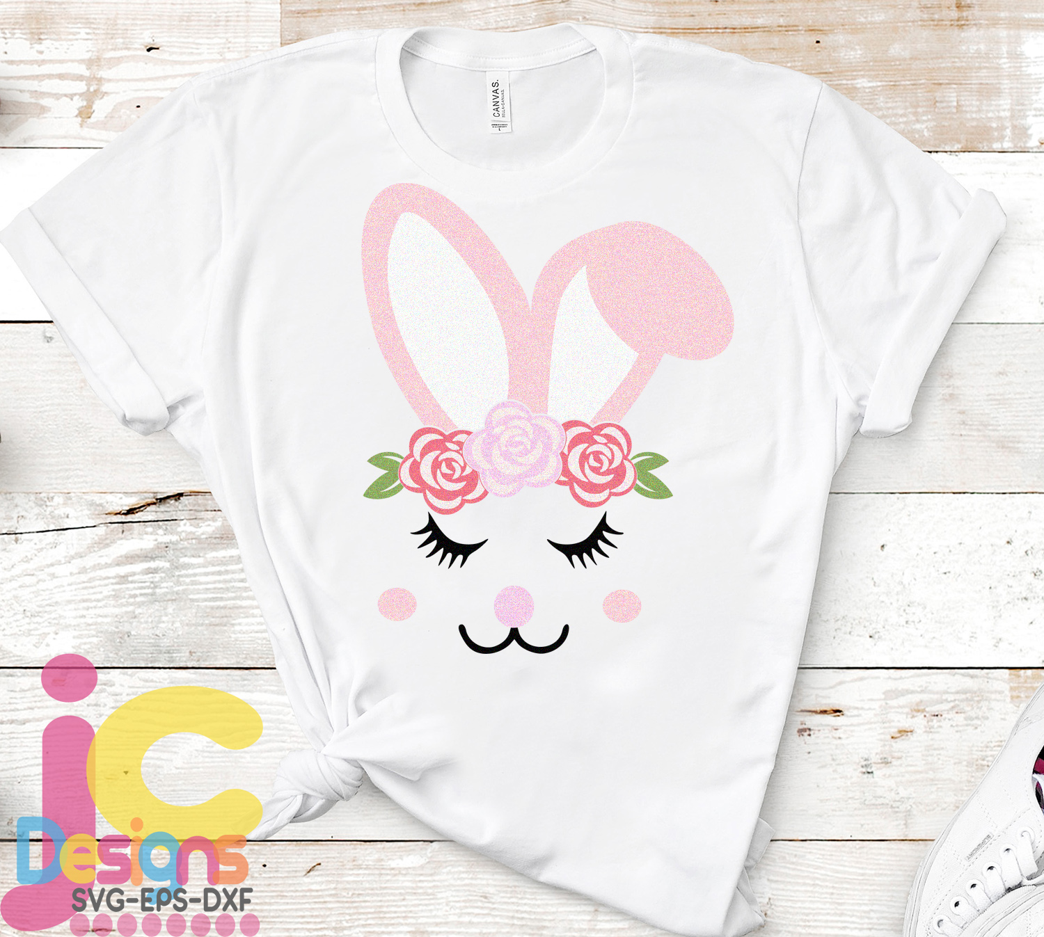 Floral Girl Easter Bunny Face Eyelashes svg, eps, dxf example image 2