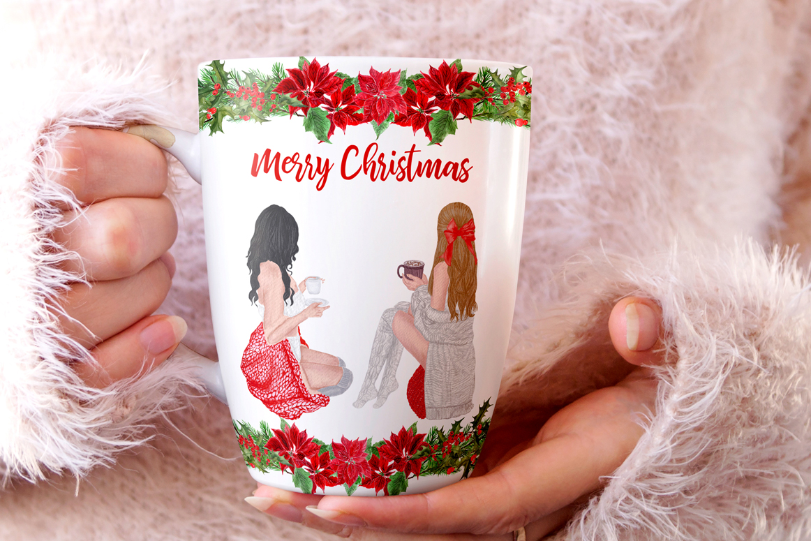 Christmas Girls Clipart, Fireplace and Stockings, Ornaments example image 2