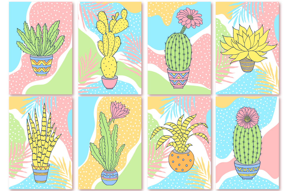 Cactuses. Patterns and cards. example image 6