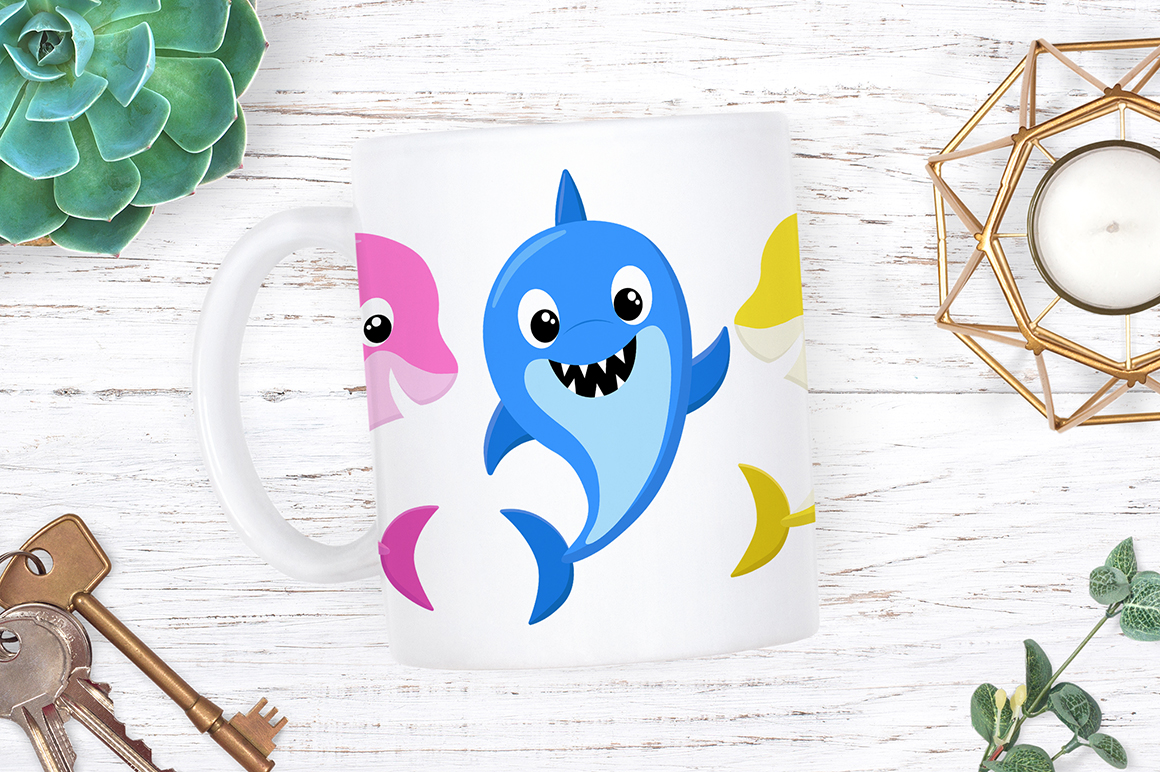 Shark Family Clipart Designs example image 5