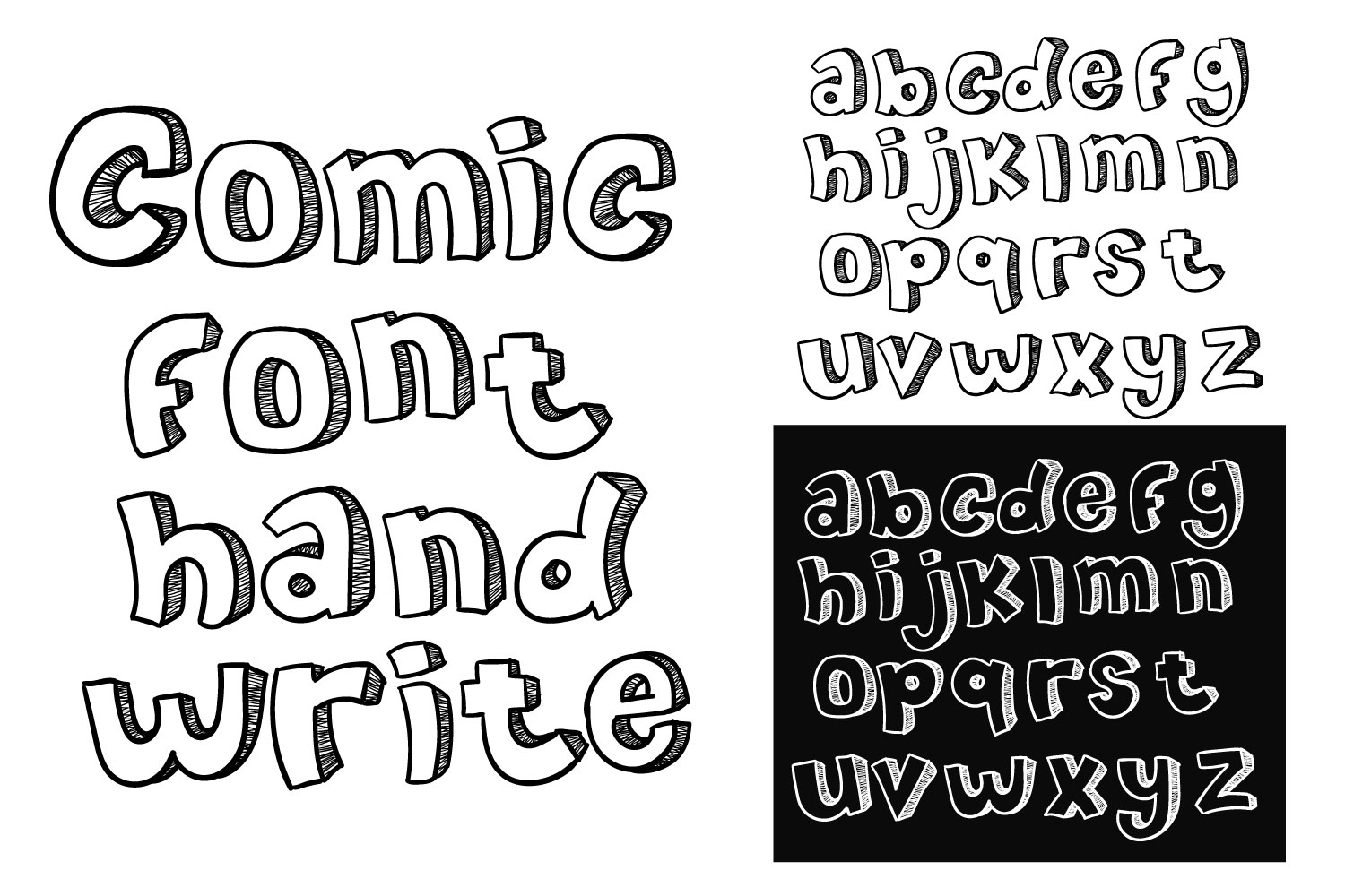comic font hand write doodle vector a-z example image 1