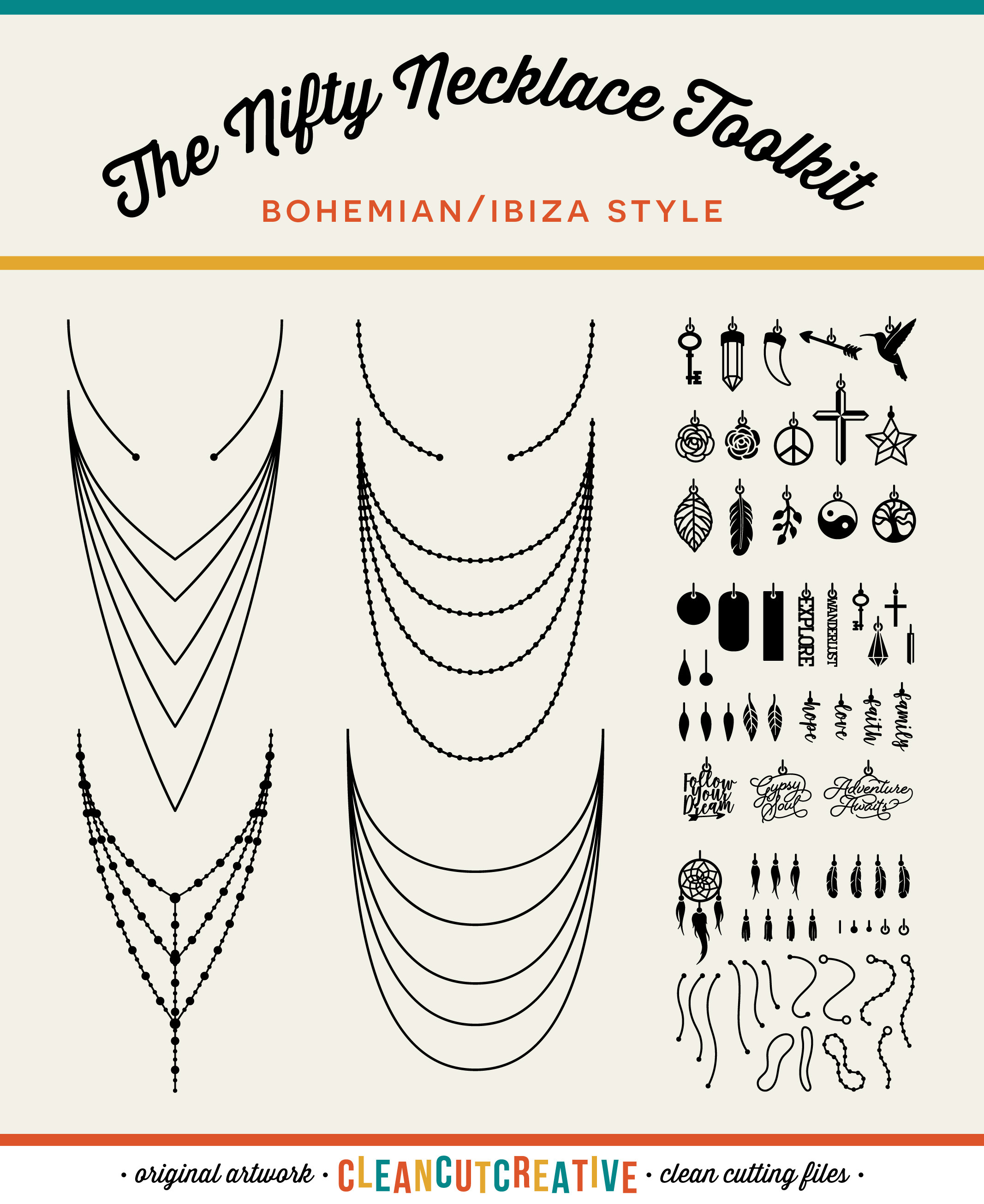 The Nifty NECKLACE TOOLKIT -  DIY Layered Necklace T-shirt Design in Boho/Ibiza Style example image 5