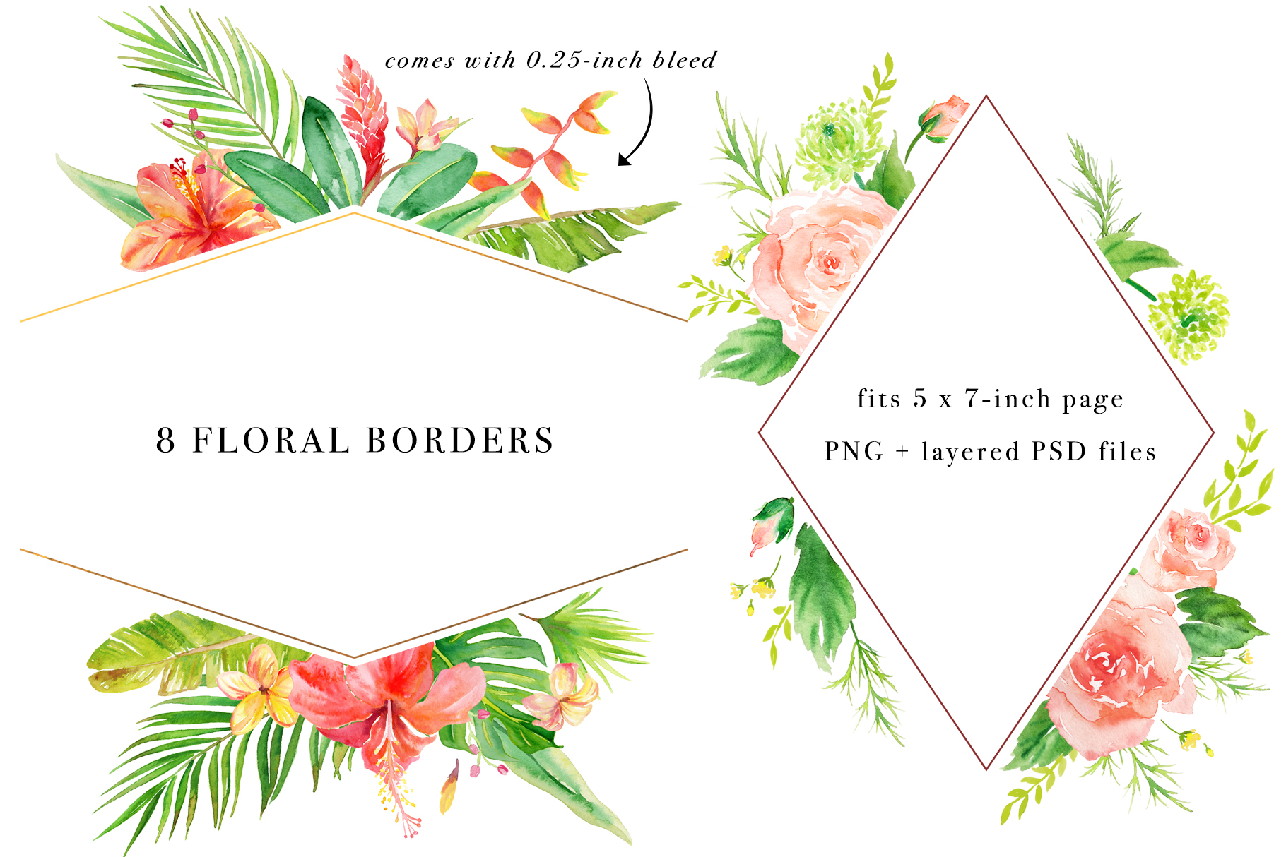 Floral Borders Watercolor Set example image 3