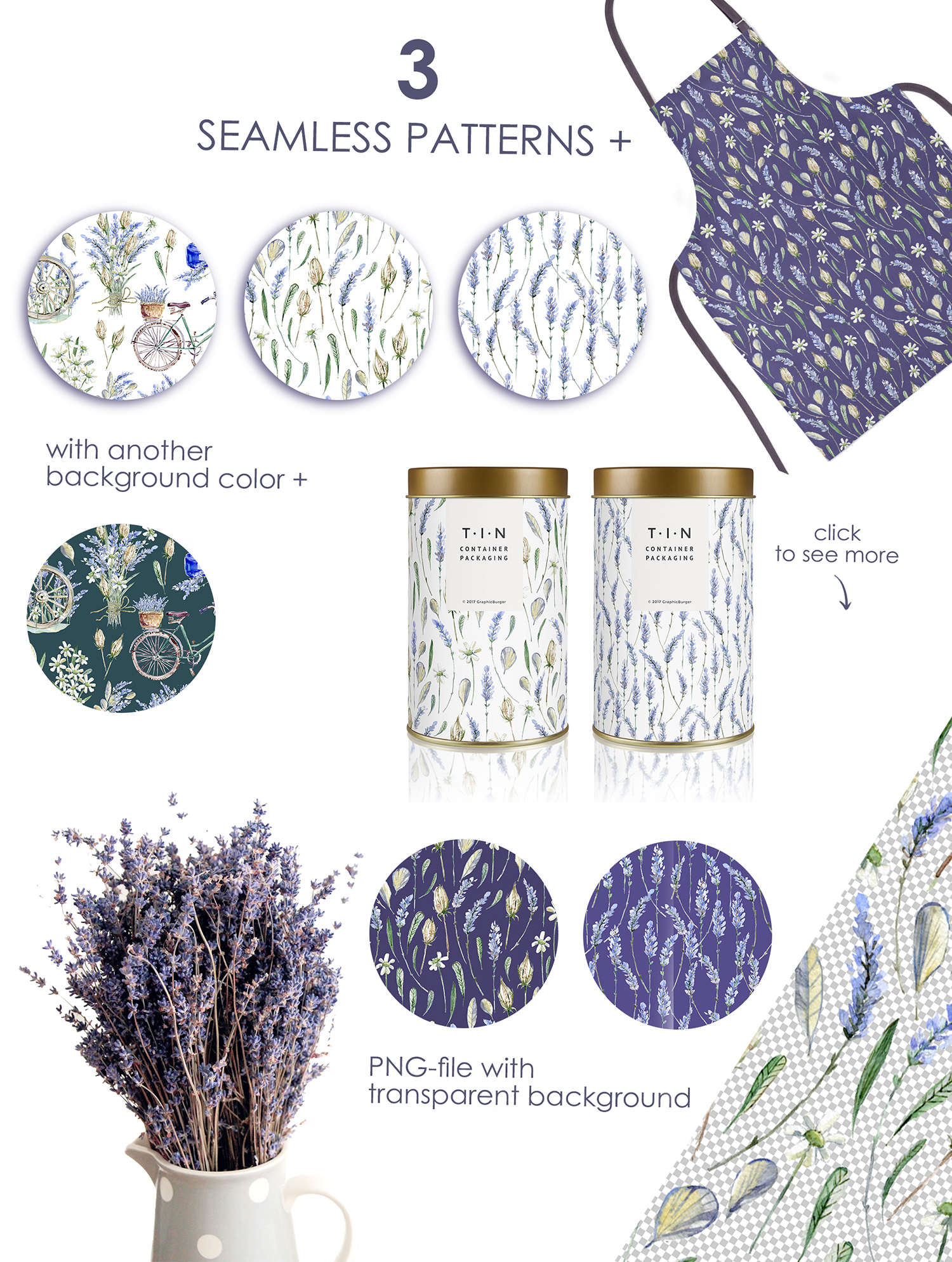 Lavender WATERCOLOR clipart set example image 5