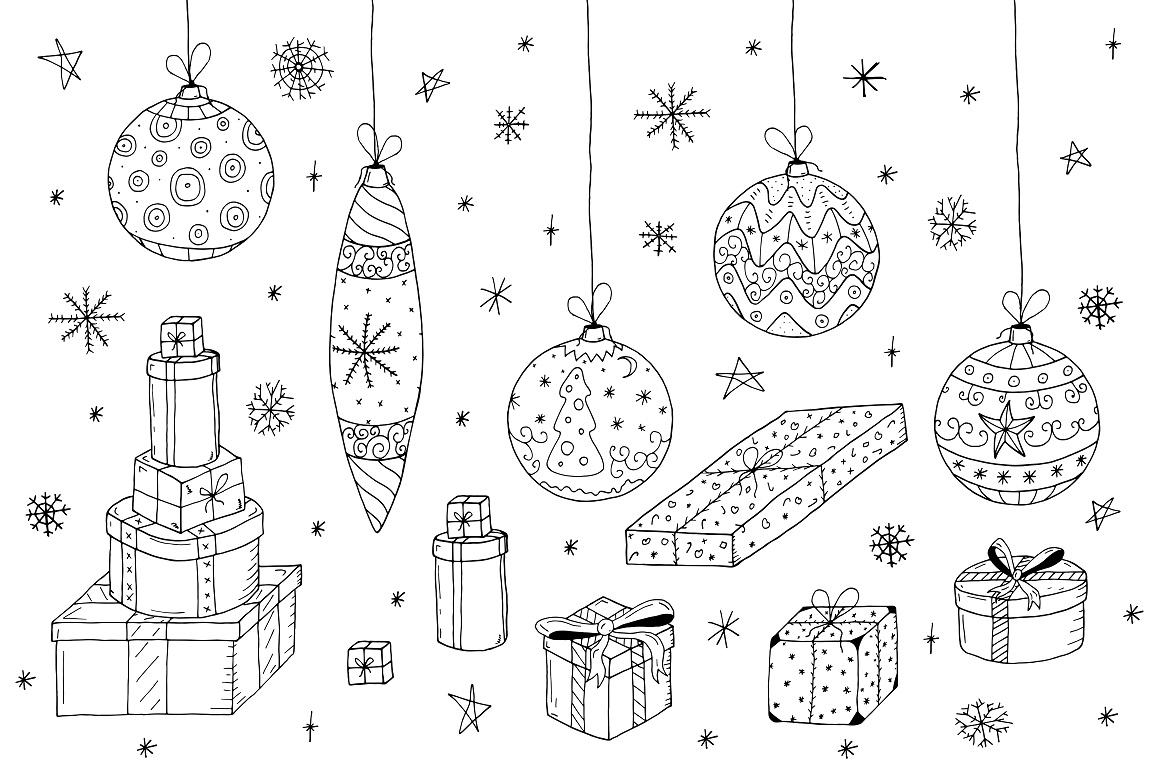 Christmas set in doodle style. example image 4