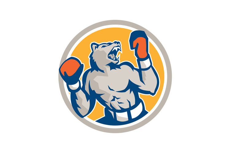 Angry Bear Boxer Gloves Circle Retro example image 1