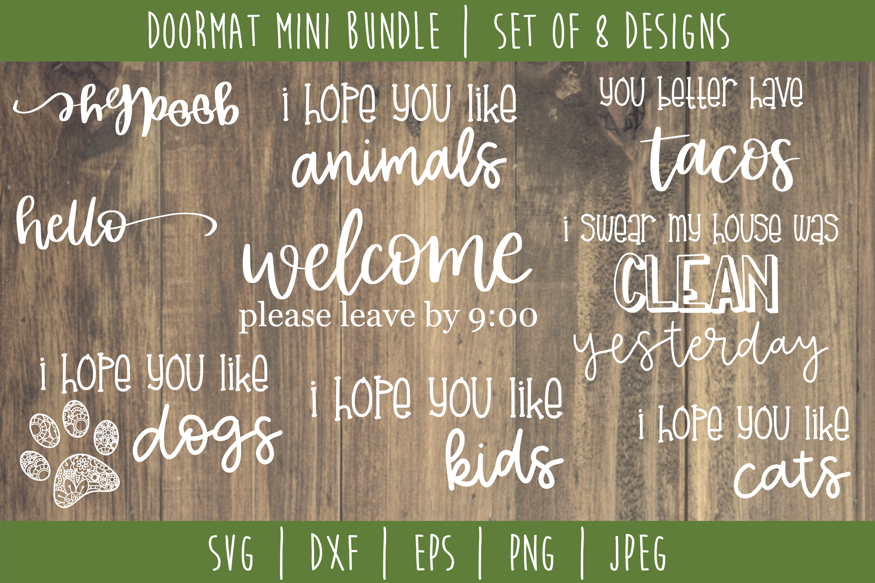 Doormat Bundle Set of 8 - SVG example image 1
