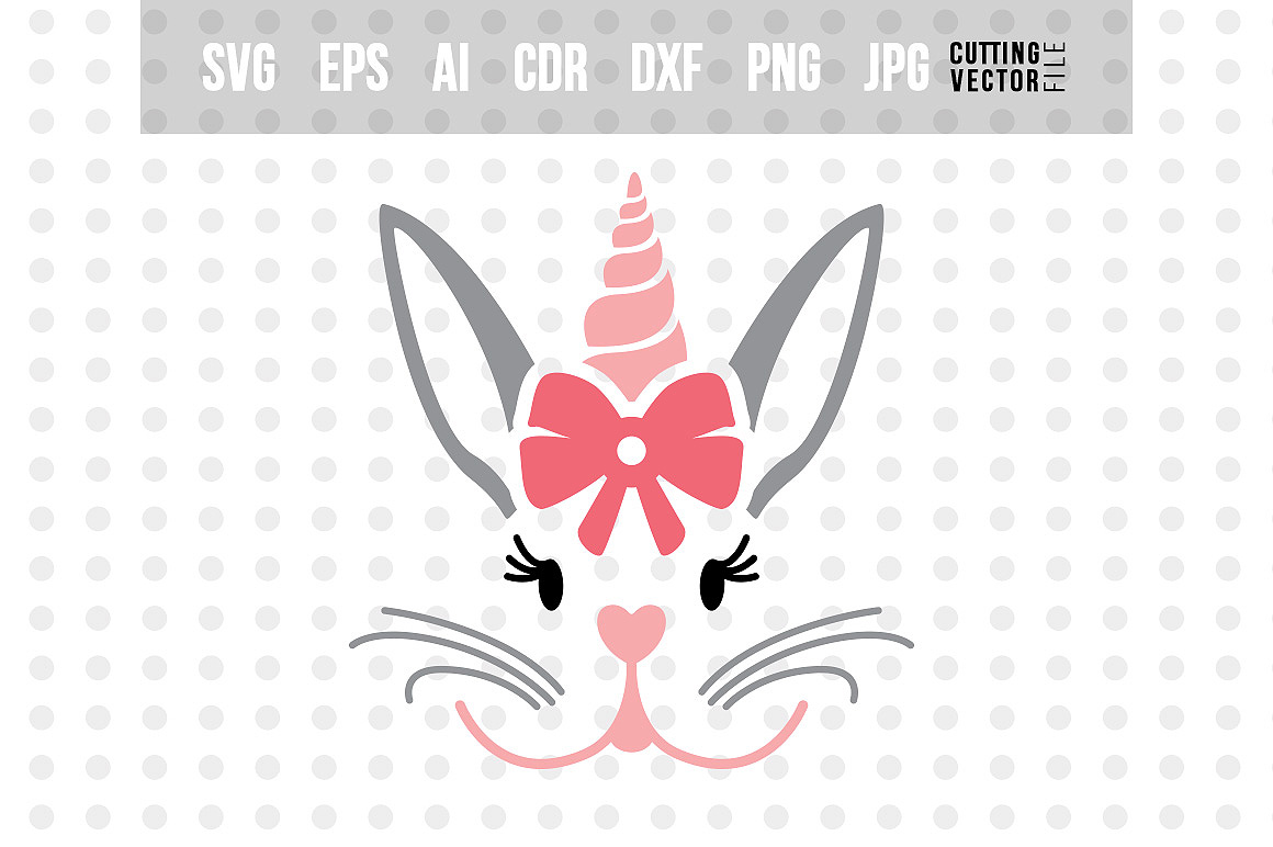Bunny Unicorn Face - SVG example image 1