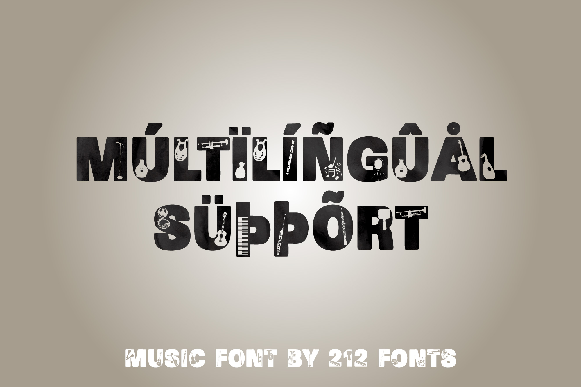 212 Music Caps Display Font Instruments Notes Alphabet OTF example image 9